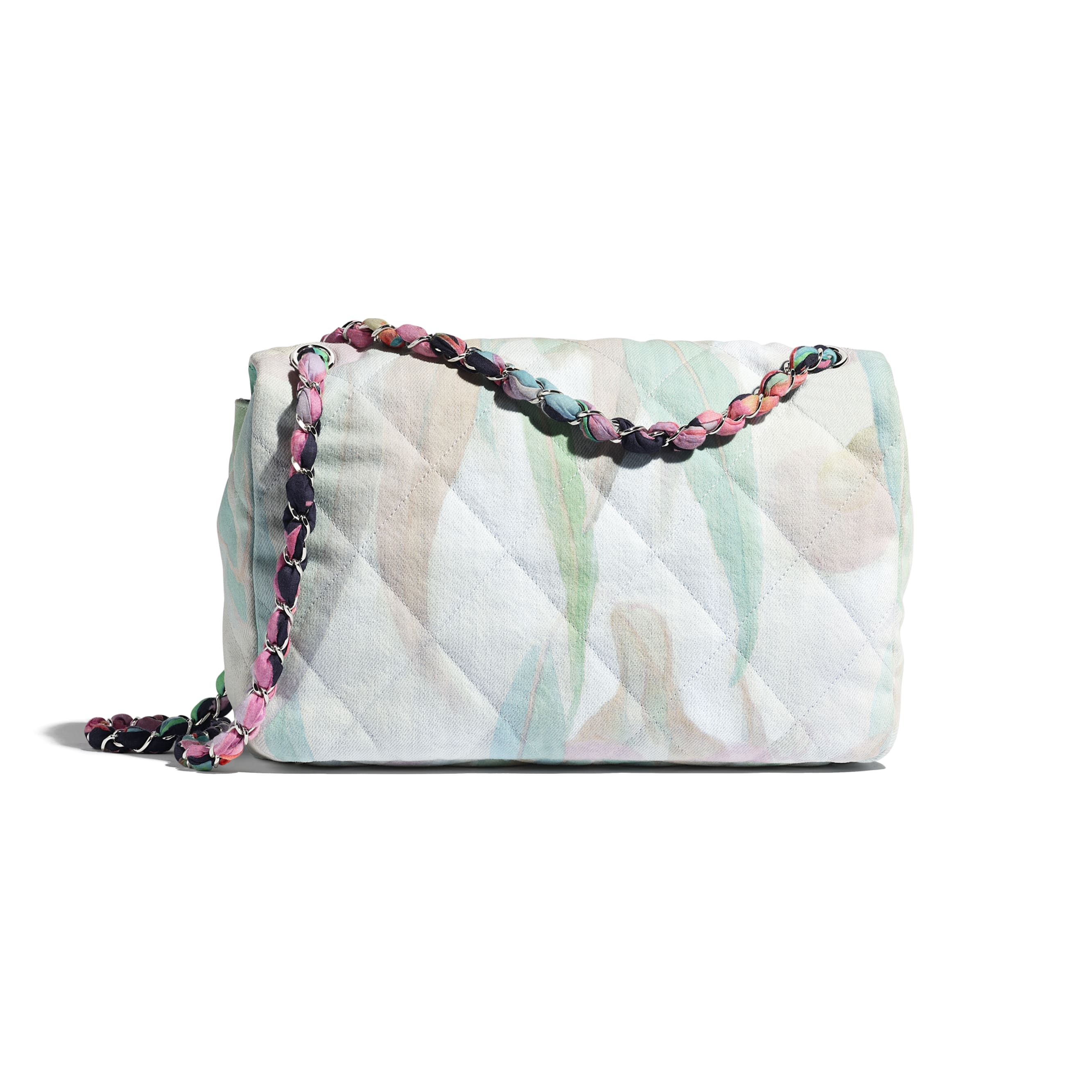 Flap Bag - Multicolour - Denim & Silver-Tone Metal - Alternative view - see standard sized version