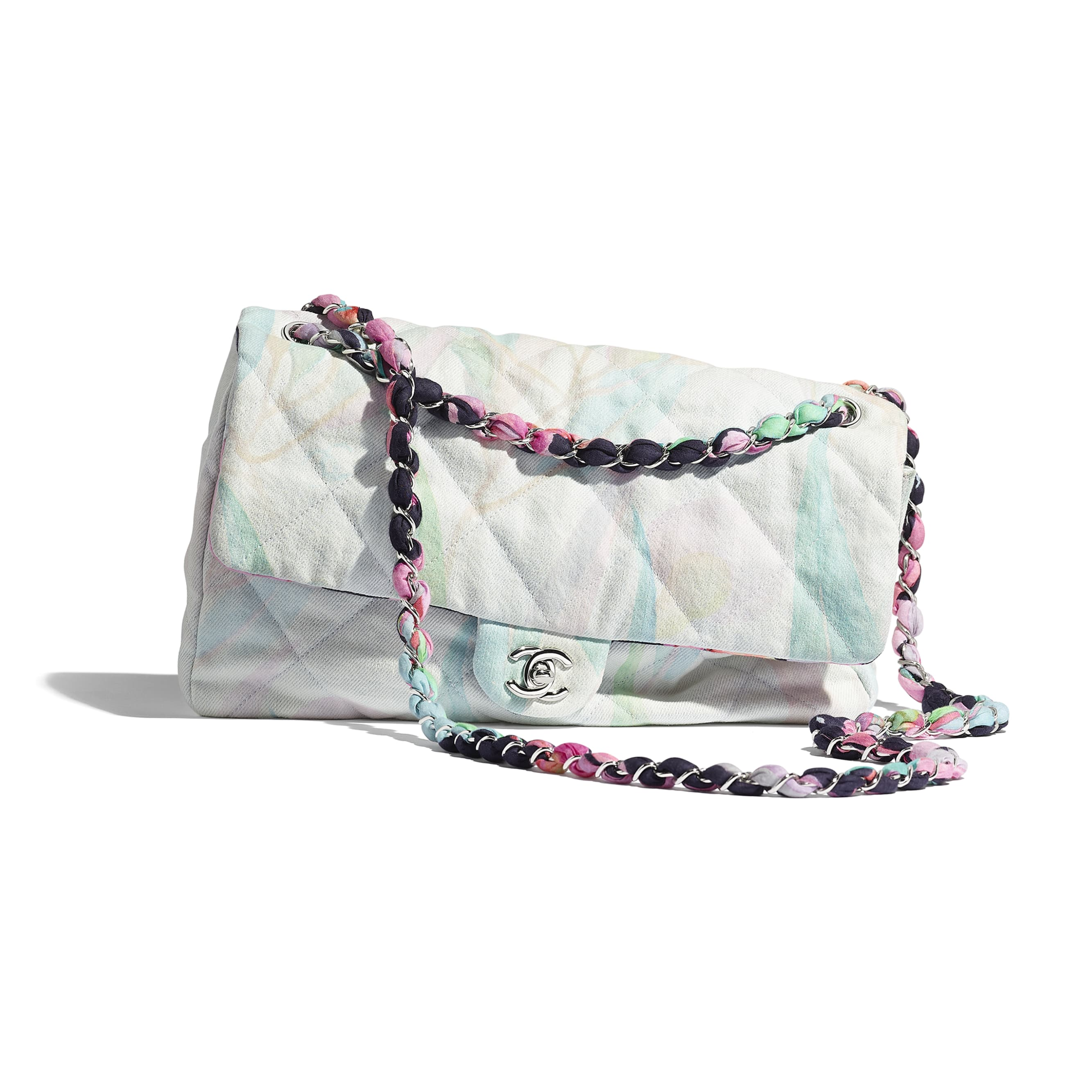Flap Bag - Multicolour - Denim & Silver-Tone Metal - Extra view - see standard sized version