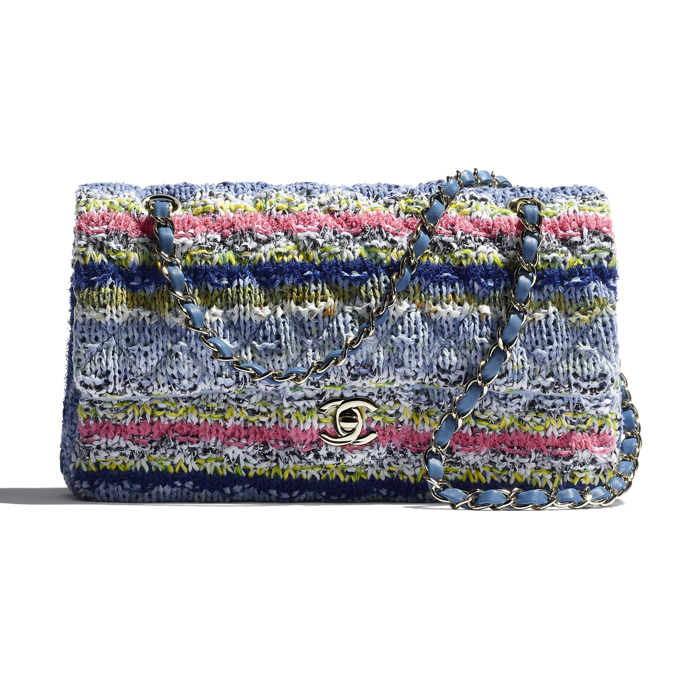 Flap Bag - Multicolour - Knit & Gold-Tone Metal - CHANEL - Extra view - see standard sized version