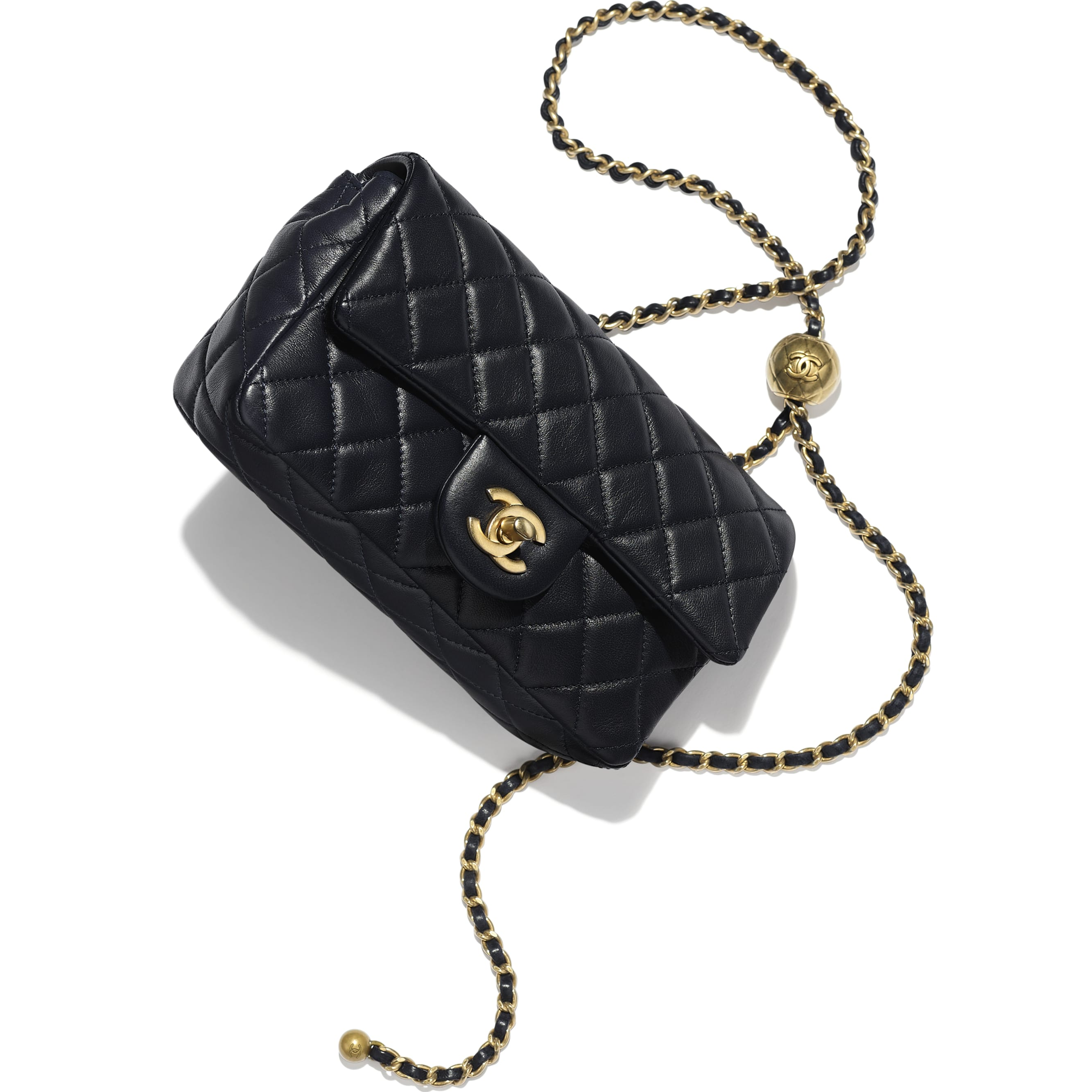 Flap Bag - Navy Blue - Lambskin - CHANEL - Extra view - see standard sized version