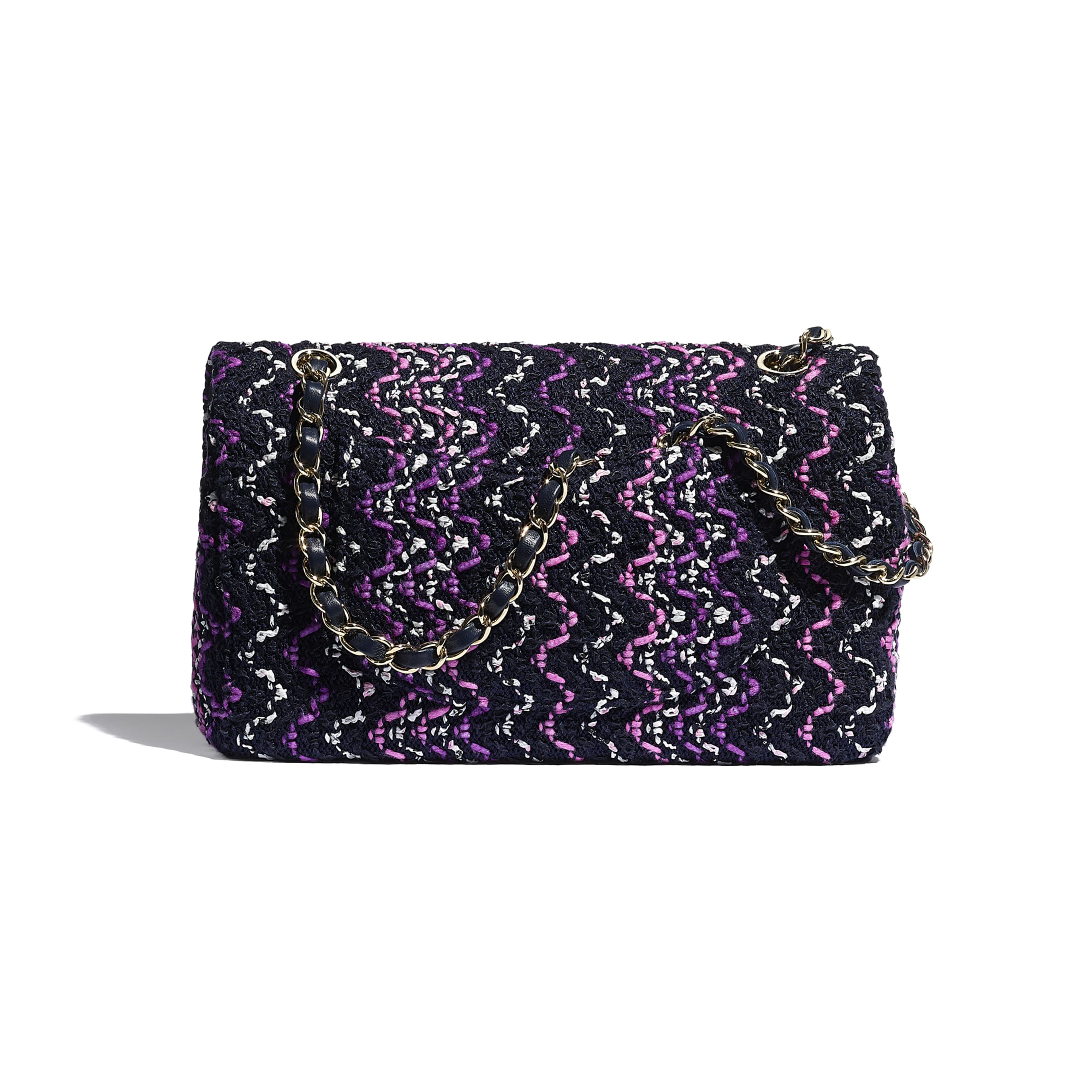 Flap Bag - Navy Blue, Purple & Pink - Cotton & Gold-Tone Metal - CHANEL - Alternative view - see standard sized version