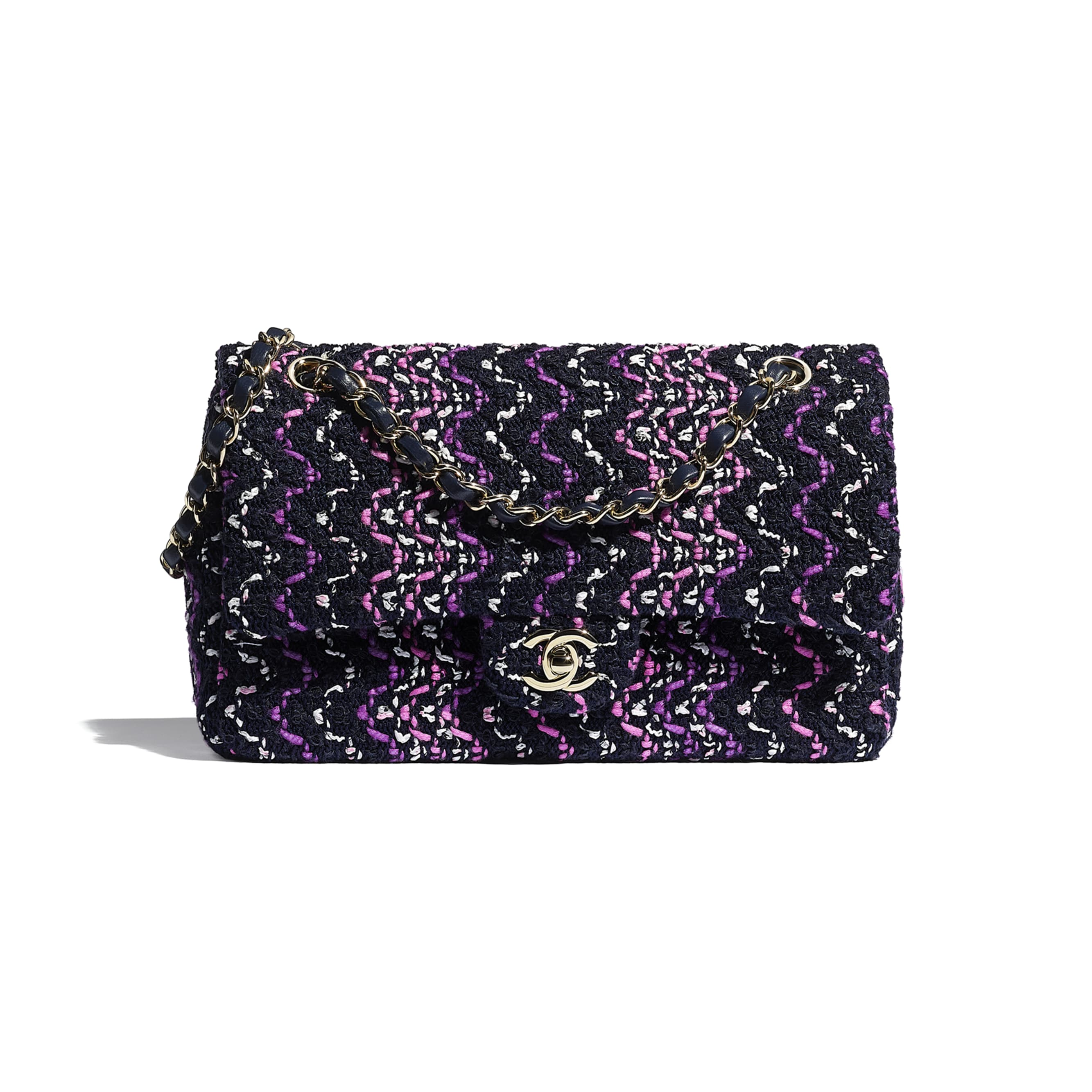 Flap Bag - Navy Blue, Purple & Pink - Cotton & Gold-Tone Metal - CHANEL - Default view - see standard sized version
