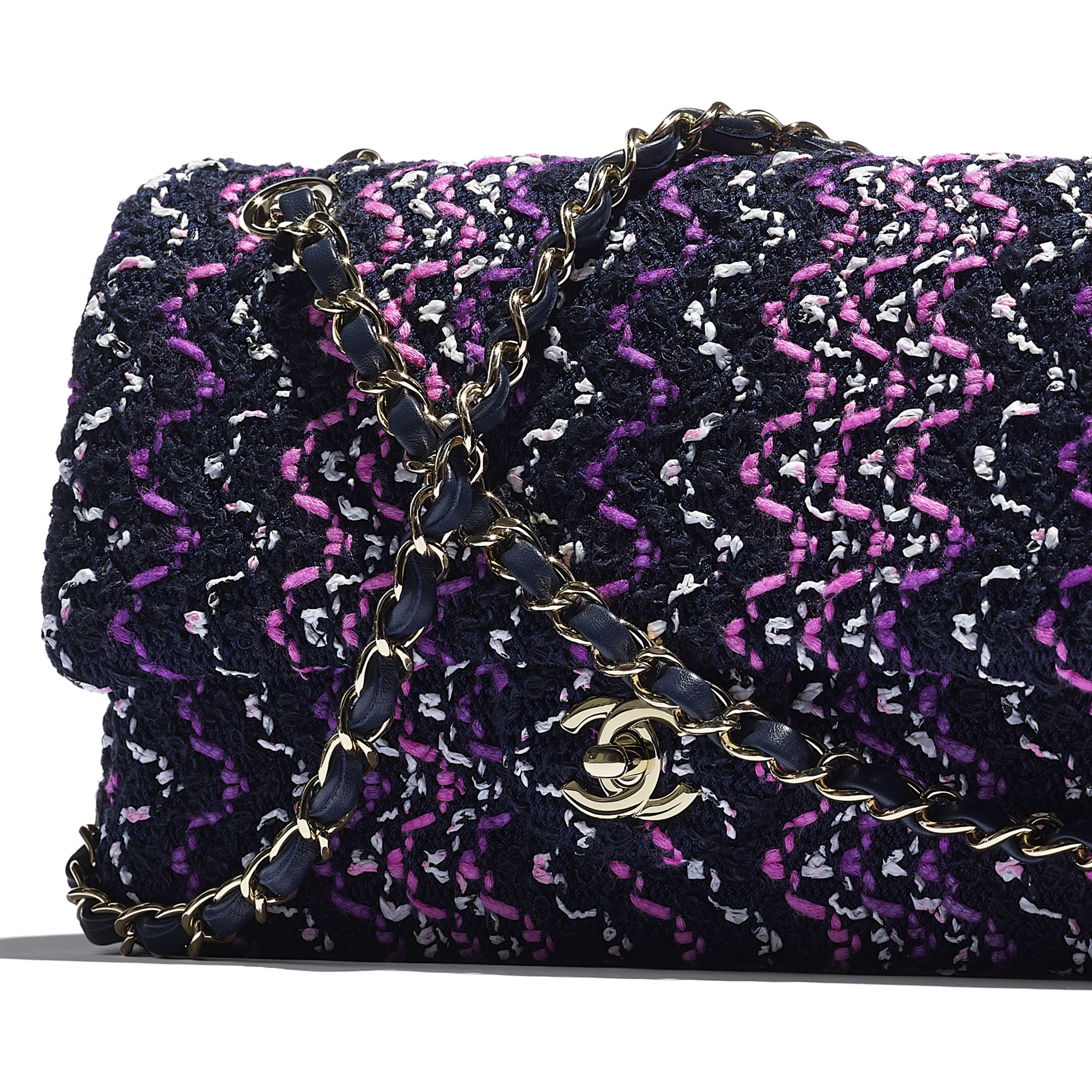 Flap Bag - Navy Blue, Purple & Pink - Cotton & Gold-Tone Metal - CHANEL - Extra view - see standard sized version