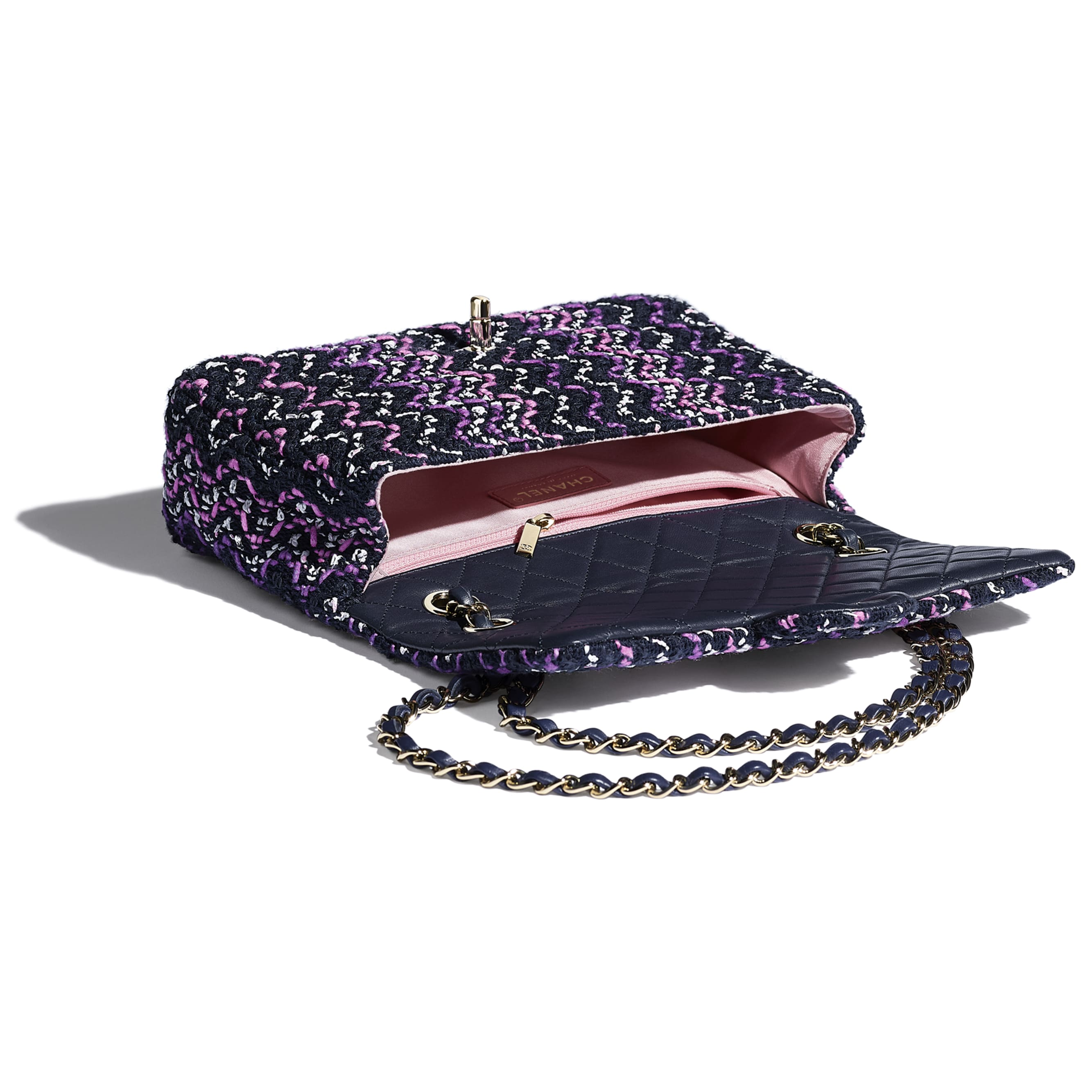 Flap Bag - Navy Blue, Purple & Pink - Cotton & Gold-Tone Metal - CHANEL - Other view - see standard sized version