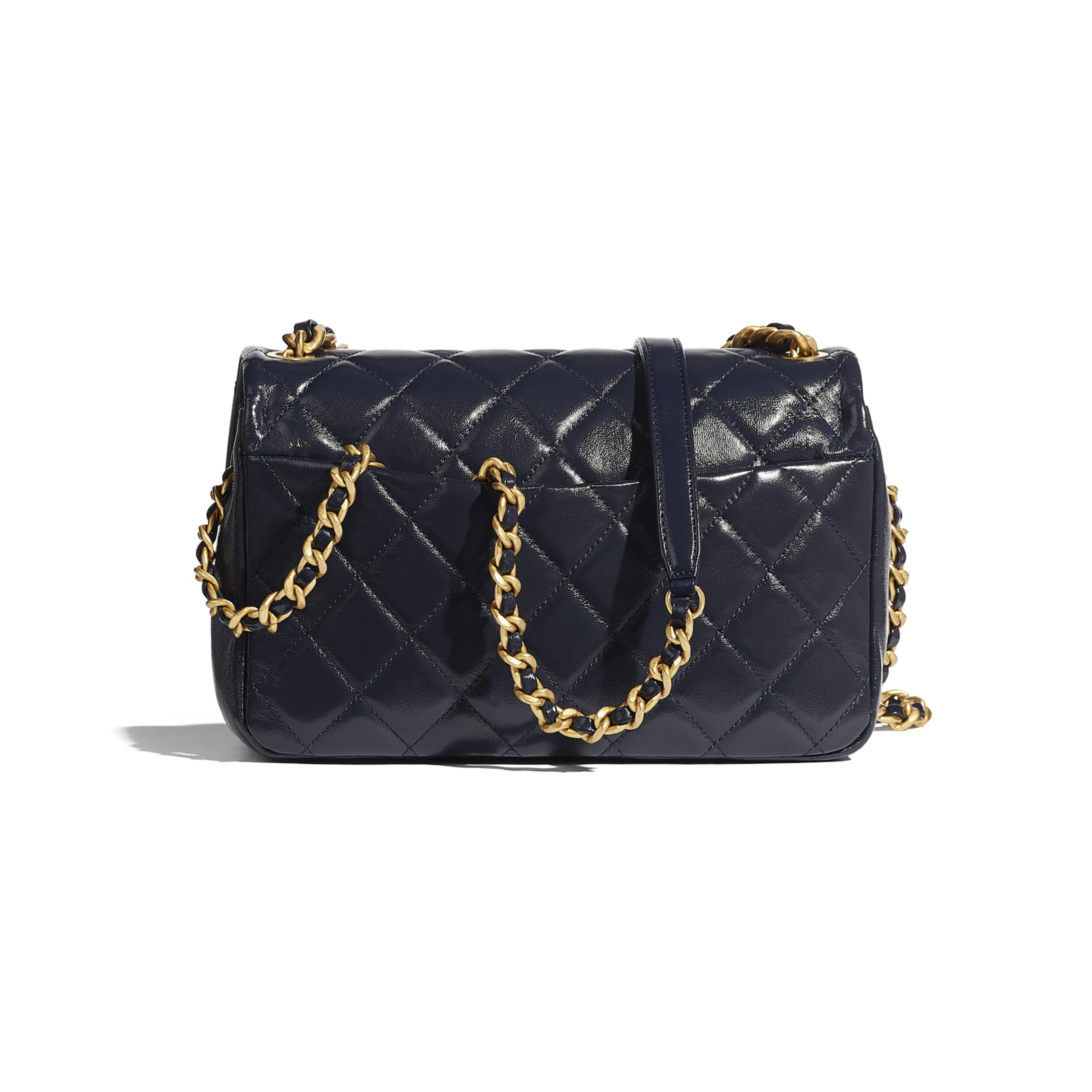 Flap Bag - Navy Blue - Shiny Lambskin & Gold-Tone Metal - CHANEL - Alternative view - see standard sized version