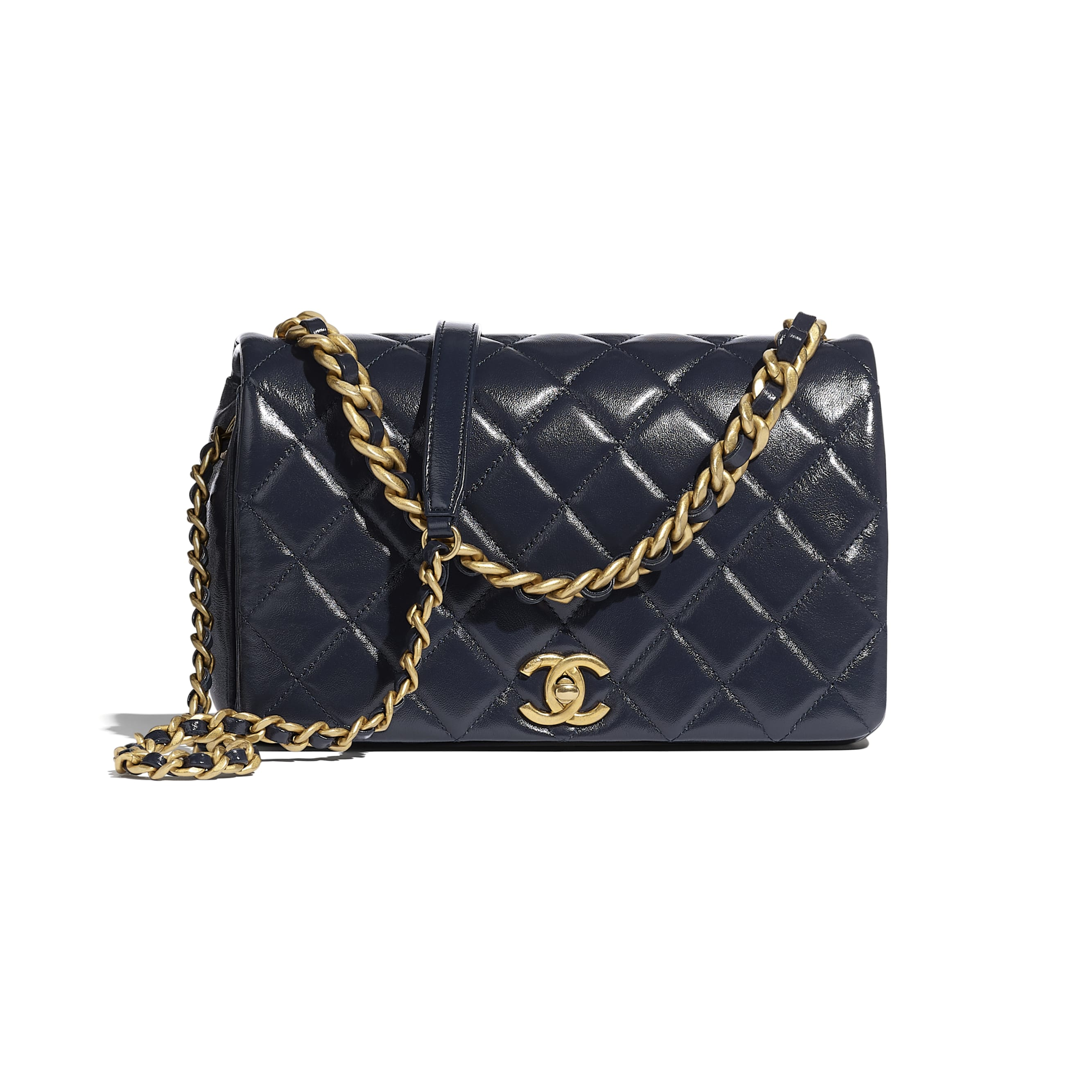 Flap Bag - Navy Blue - Shiny Lambskin & Gold-Tone Metal - CHANEL - Default view - see standard sized version