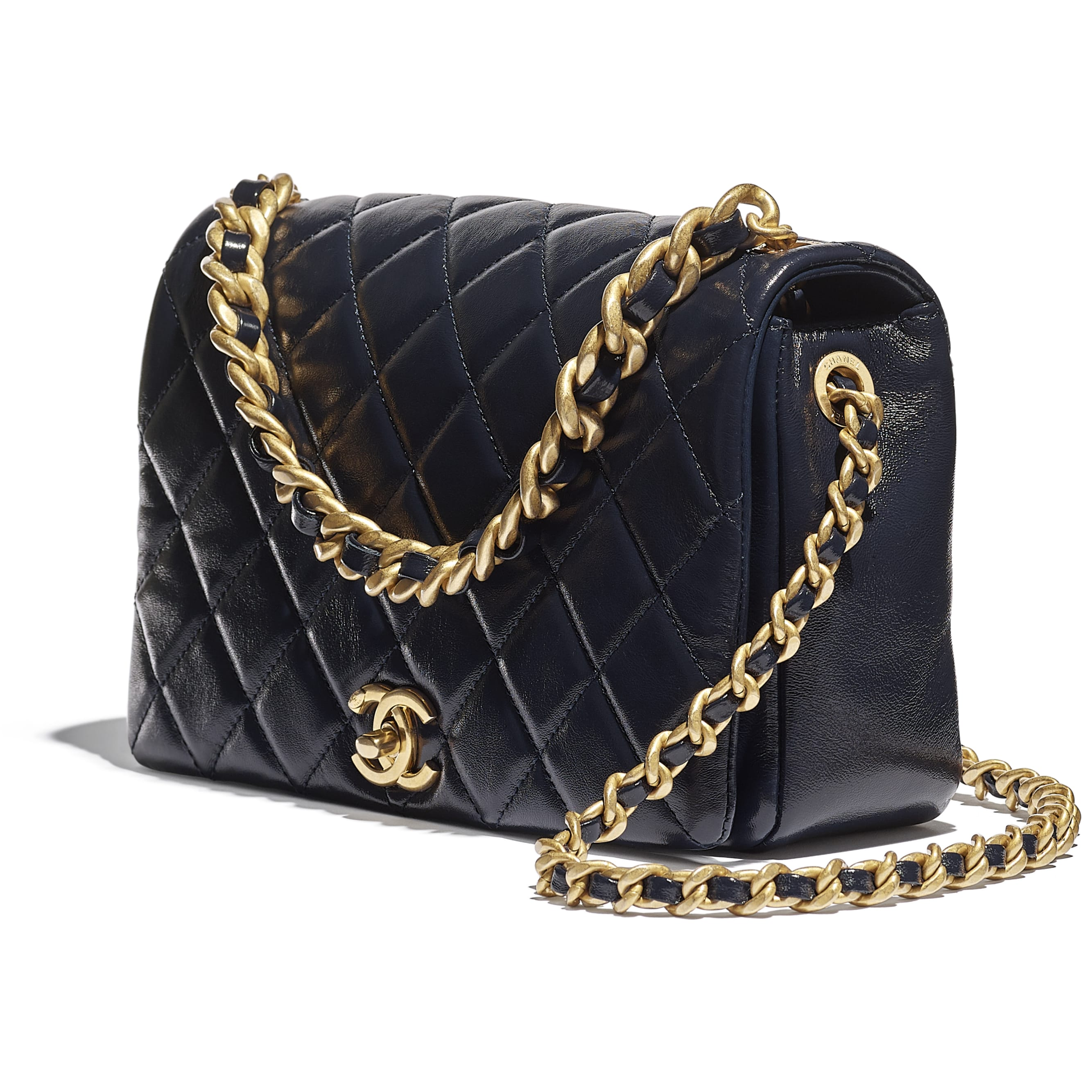 Flap Bag - Navy Blue - Shiny Lambskin & Gold-Tone Metal - CHANEL - Extra view - see standard sized version
