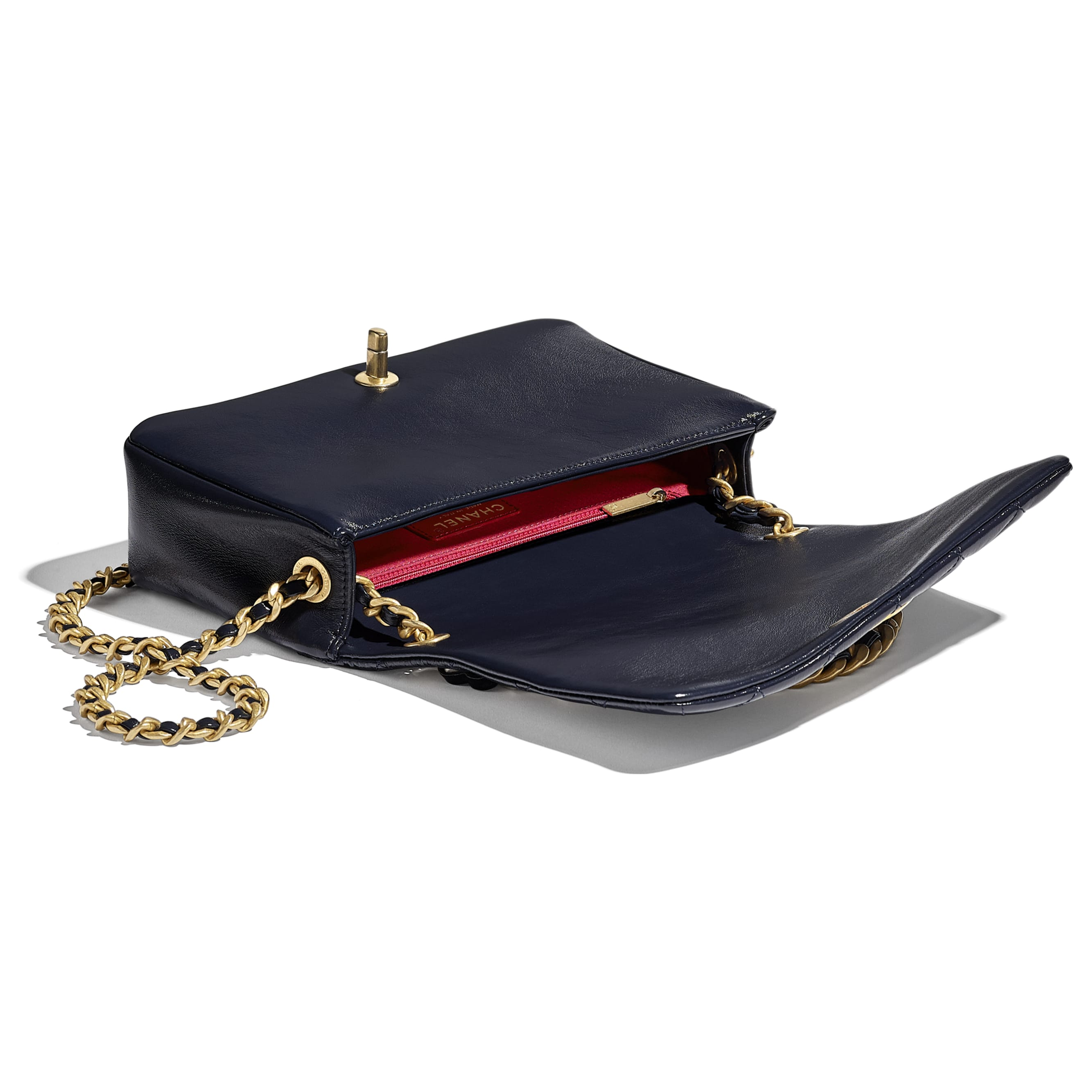 Flap Bag - Navy Blue - Shiny Lambskin & Gold-Tone Metal - CHANEL - Other view - see standard sized version