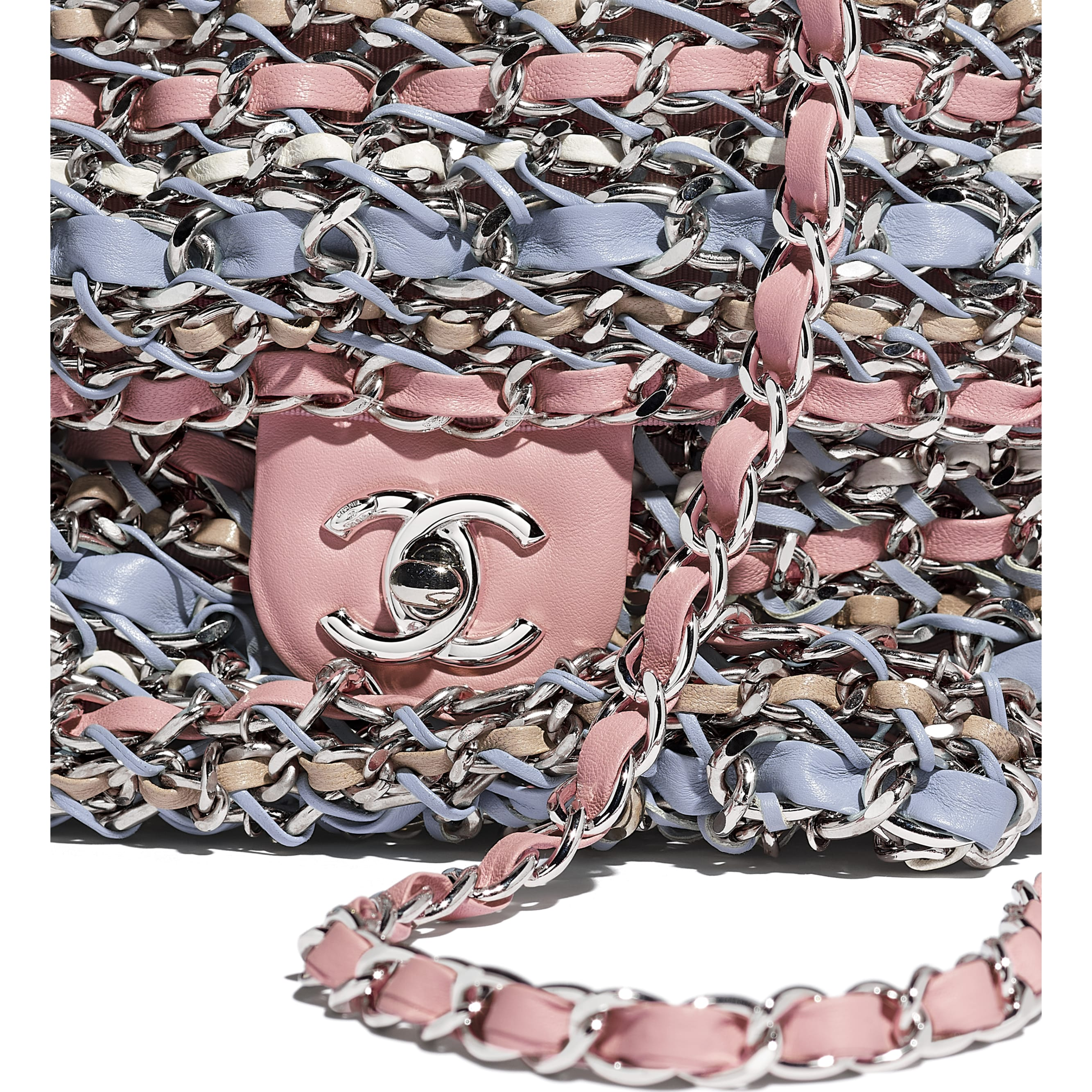 Flap Bag - Pink, Blue, Beige & White - Calfskin & Silver-Tone Metal - CHANEL - Extra view - see standard sized version