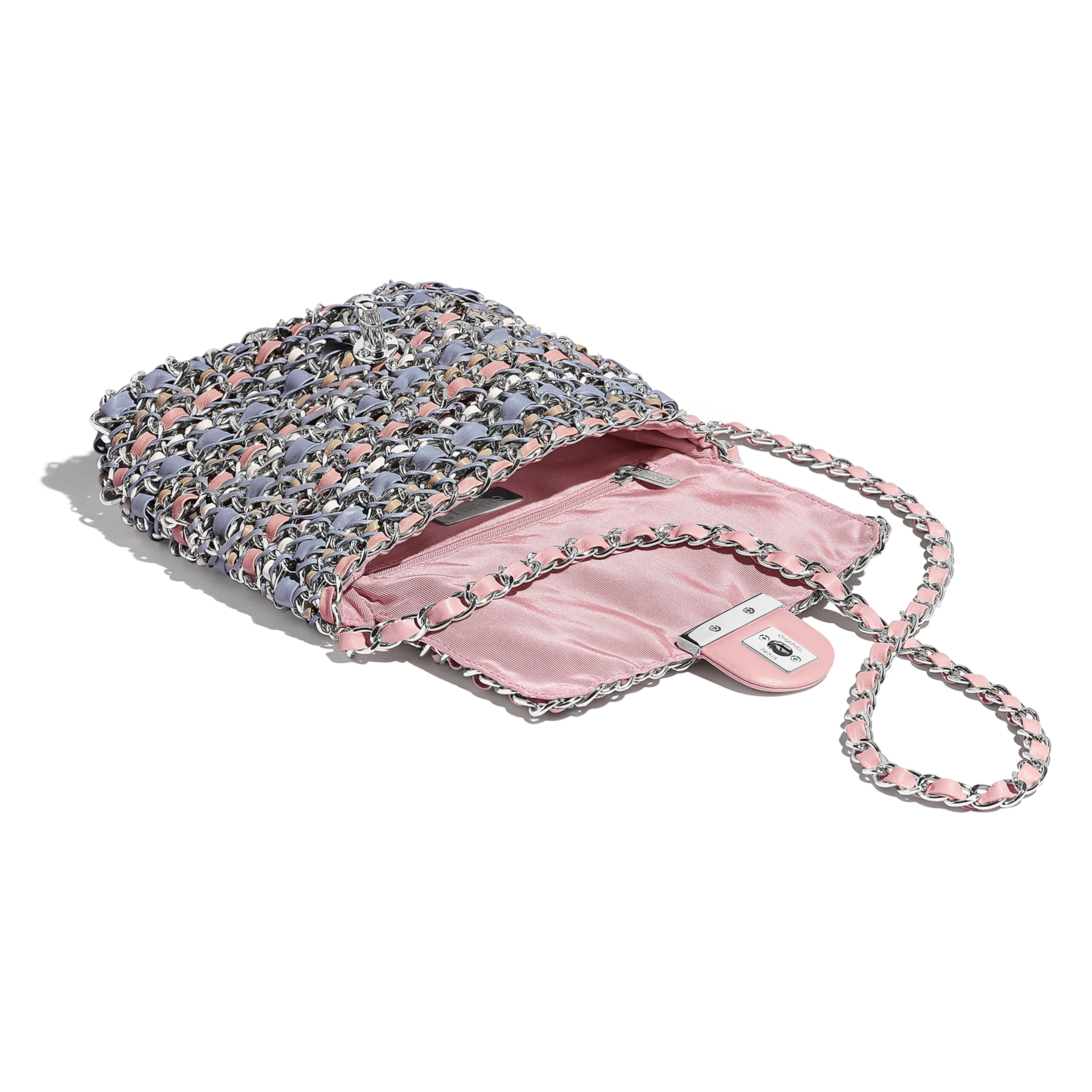 Flap Bag - Pink, Blue, Beige & White - Calfskin & Silver-Tone Metal - CHANEL - Other view - see standard sized version