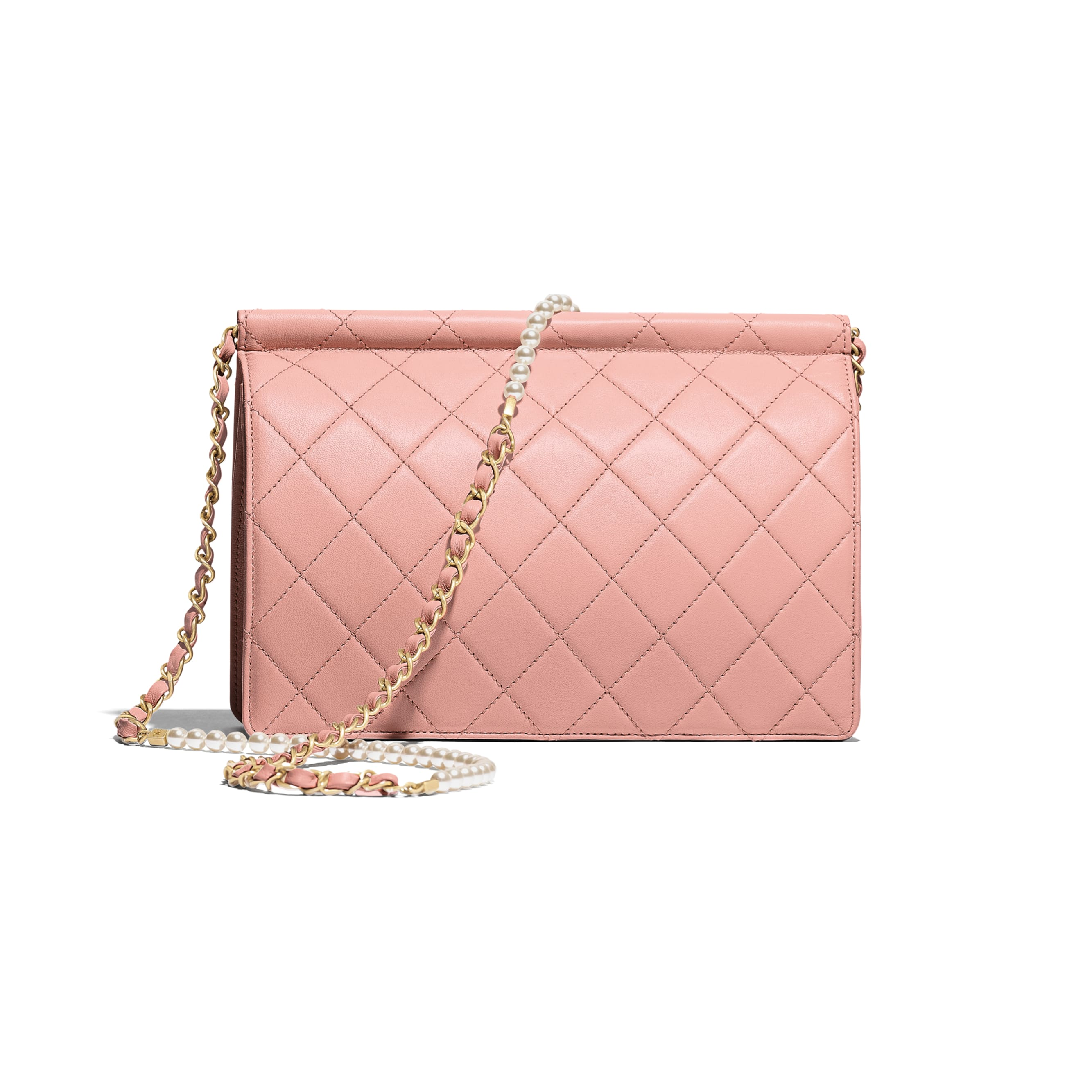 Flap Bag - Pink - Lambskin, Imitation Pearls & Gold-Tone Metal - Alternative view - see standard sized version