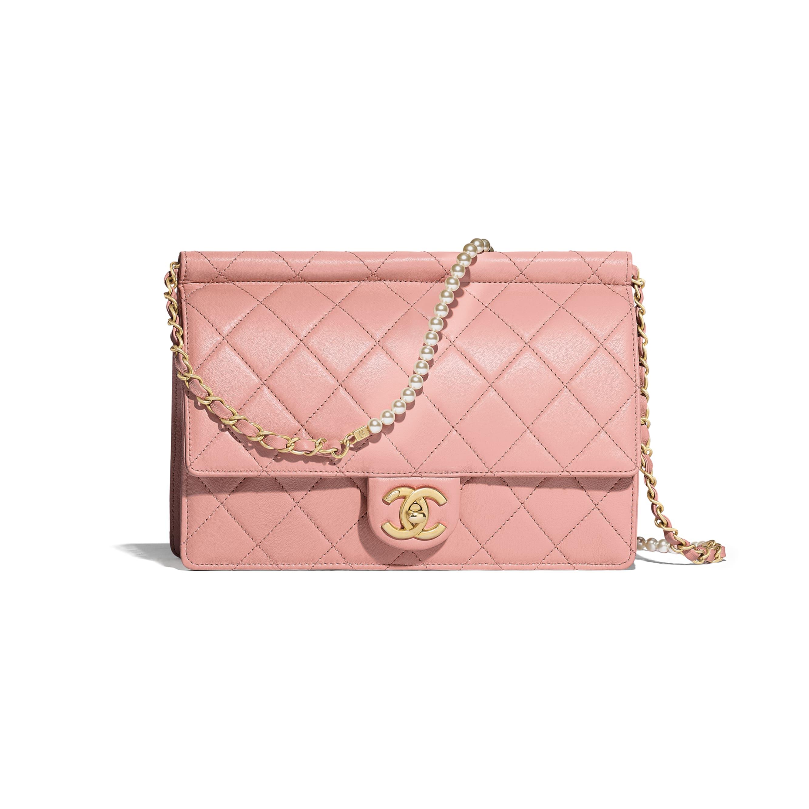 Flap Bag - Pink - Lambskin, Imitation Pearls & Gold-Tone Metal - Default view - see standard sized version