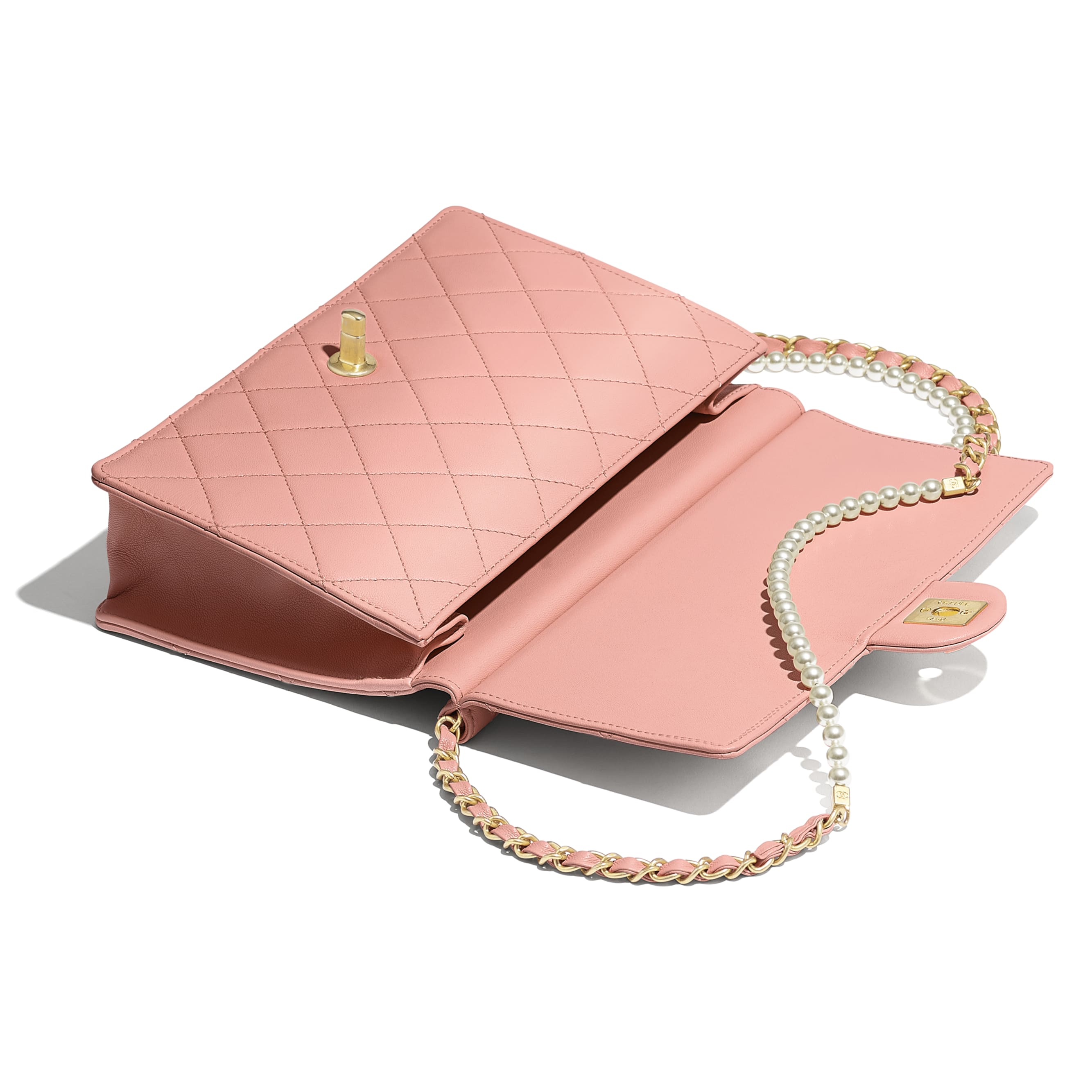 Flap Bag - Pink - Lambskin, Imitation Pearls & Gold-Tone Metal - Other view - see standard sized version
