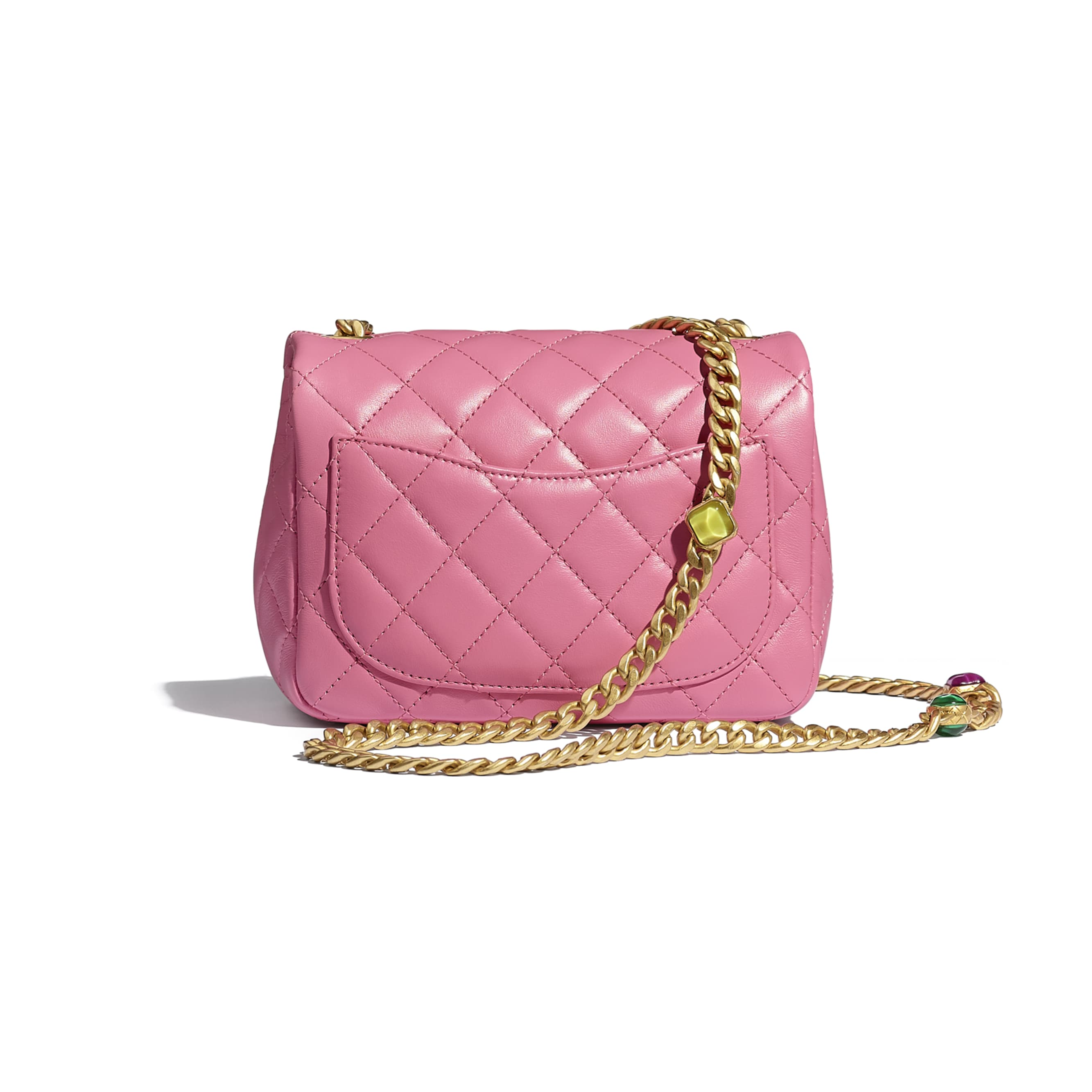 Flap Bag - Pink - Lambskin, Resin & Gold-Tone Metal - CHANEL - Alternative view - see standard sized version