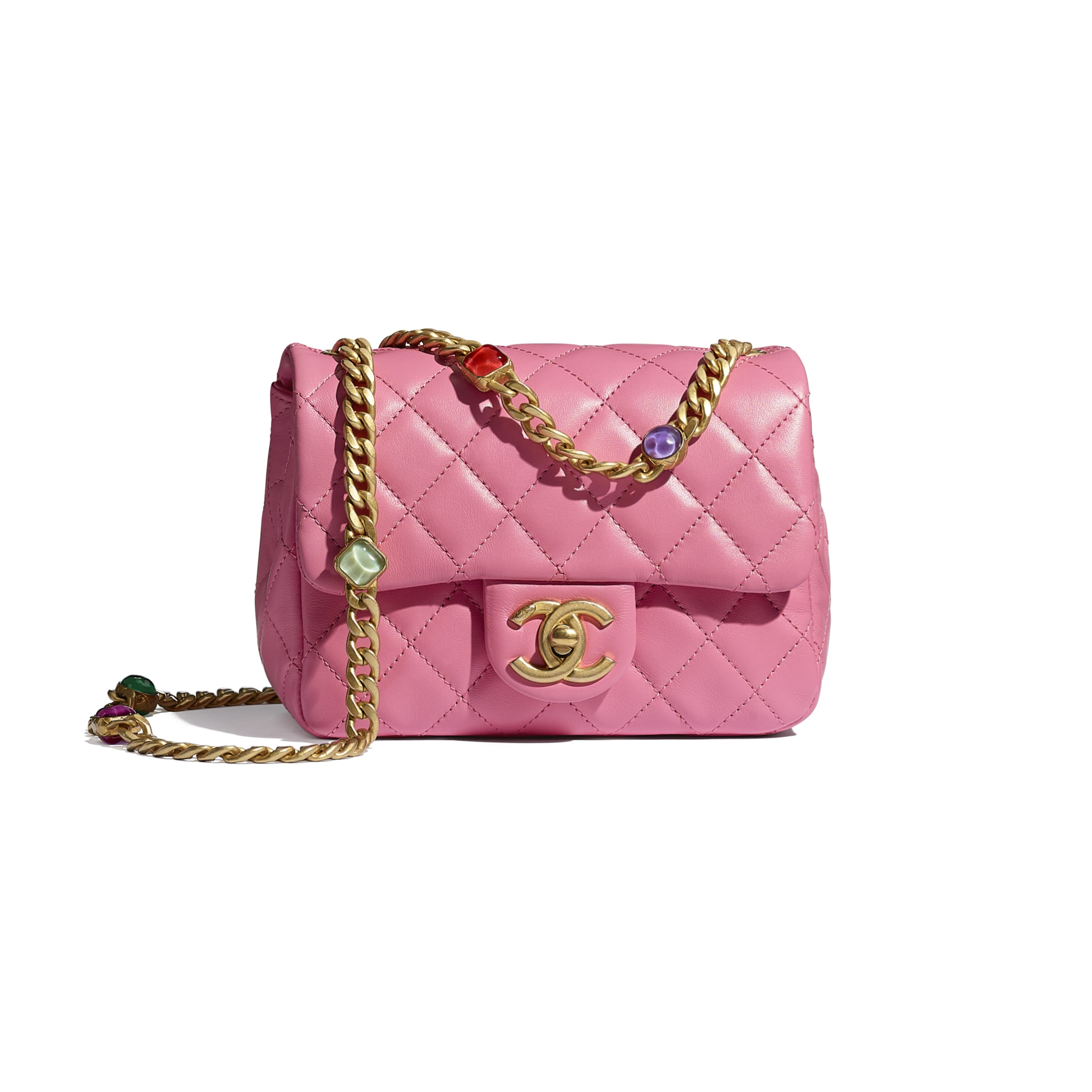 Flap Bag - Pink - Lambskin, Resin & Gold-Tone Metal - CHANEL - Default view - see standard sized version