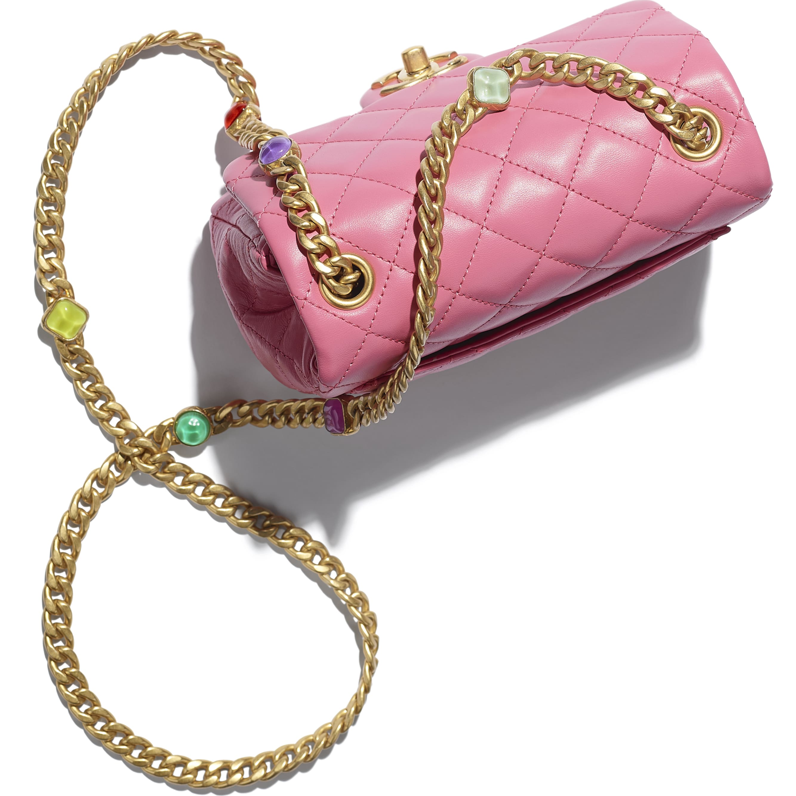 Flap Bag - Pink - Lambskin, Resin & Gold-Tone Metal - CHANEL - Extra view - see standard sized version