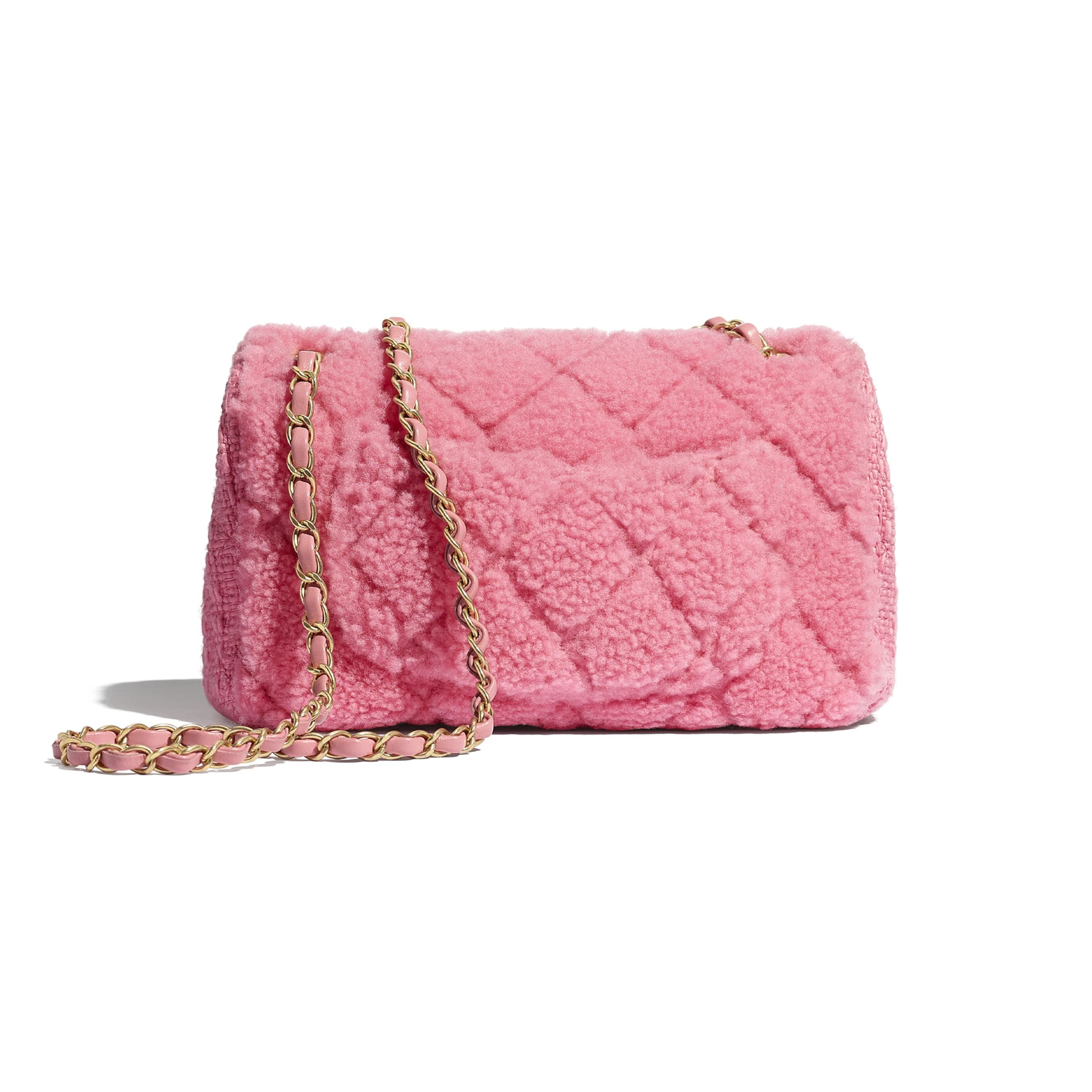 Flap Bag - Pink - Shearling Sheepskin, Tweed & Gold-Tone Metal - CHANEL - Alternative view - see standard sized version