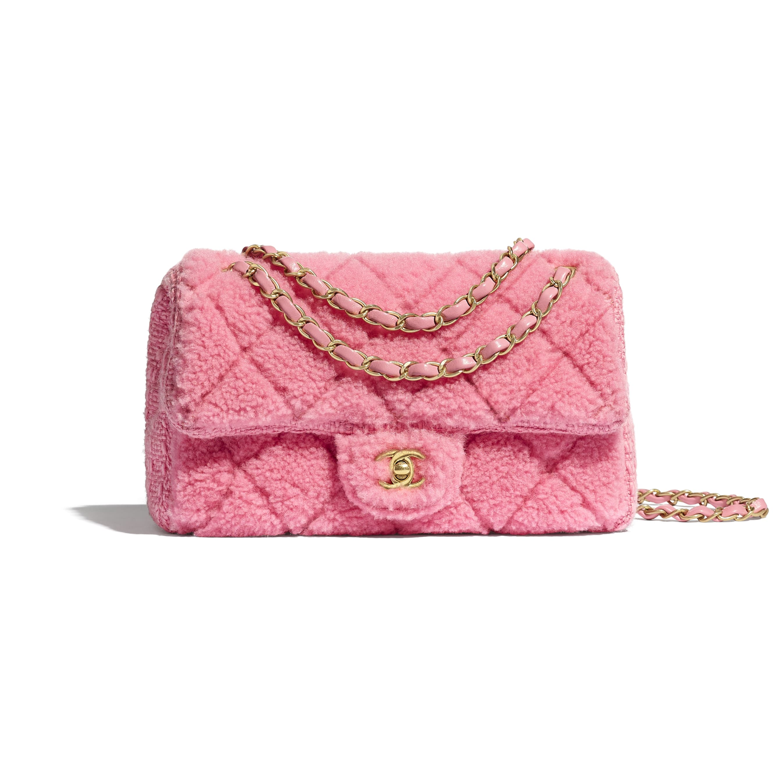 Flap Bag - Pink - Shearling Sheepskin, Tweed & Gold-Tone Metal - CHANEL - Default view - see standard sized version