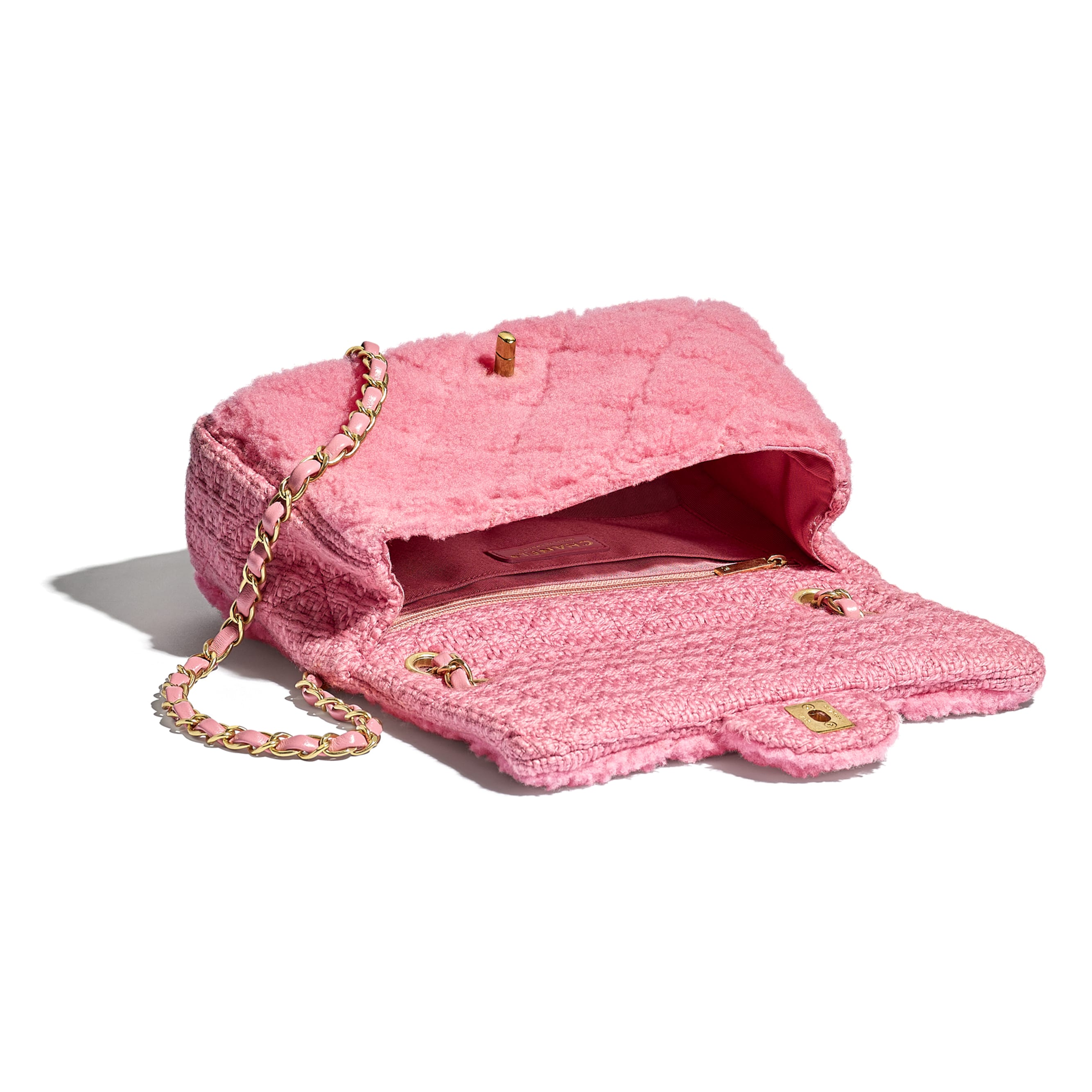 Flap Bag - Pink - Shearling Sheepskin, Tweed & Gold-Tone Metal - CHANEL - Other view - see standard sized version
