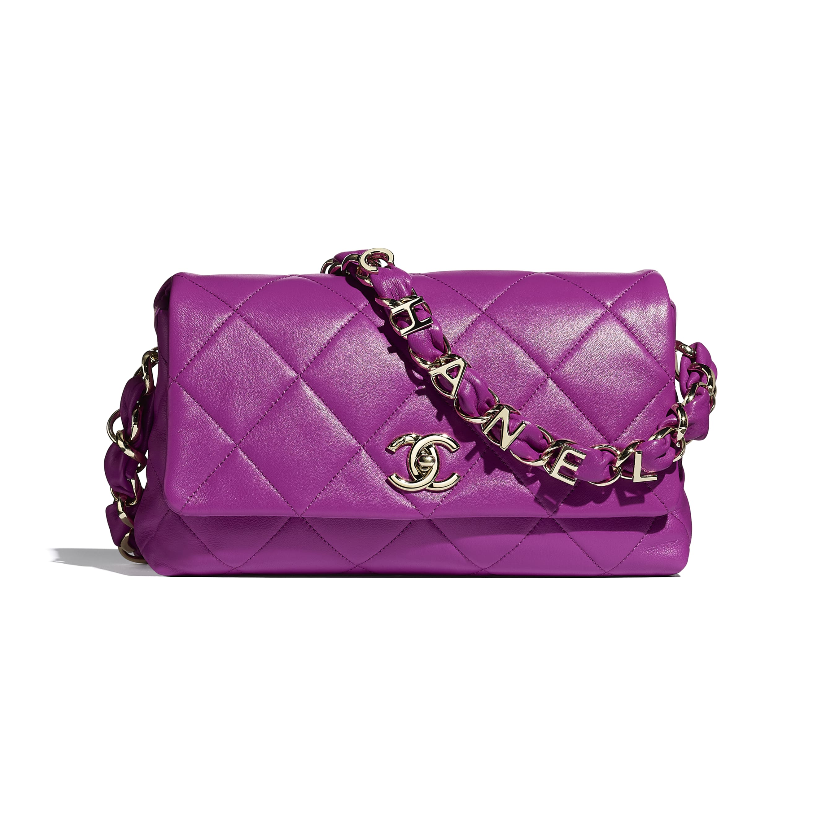 Flap Bag - Purple - Lambskin & Gold-Tone Metal - CHANEL - Default view - see standard sized version