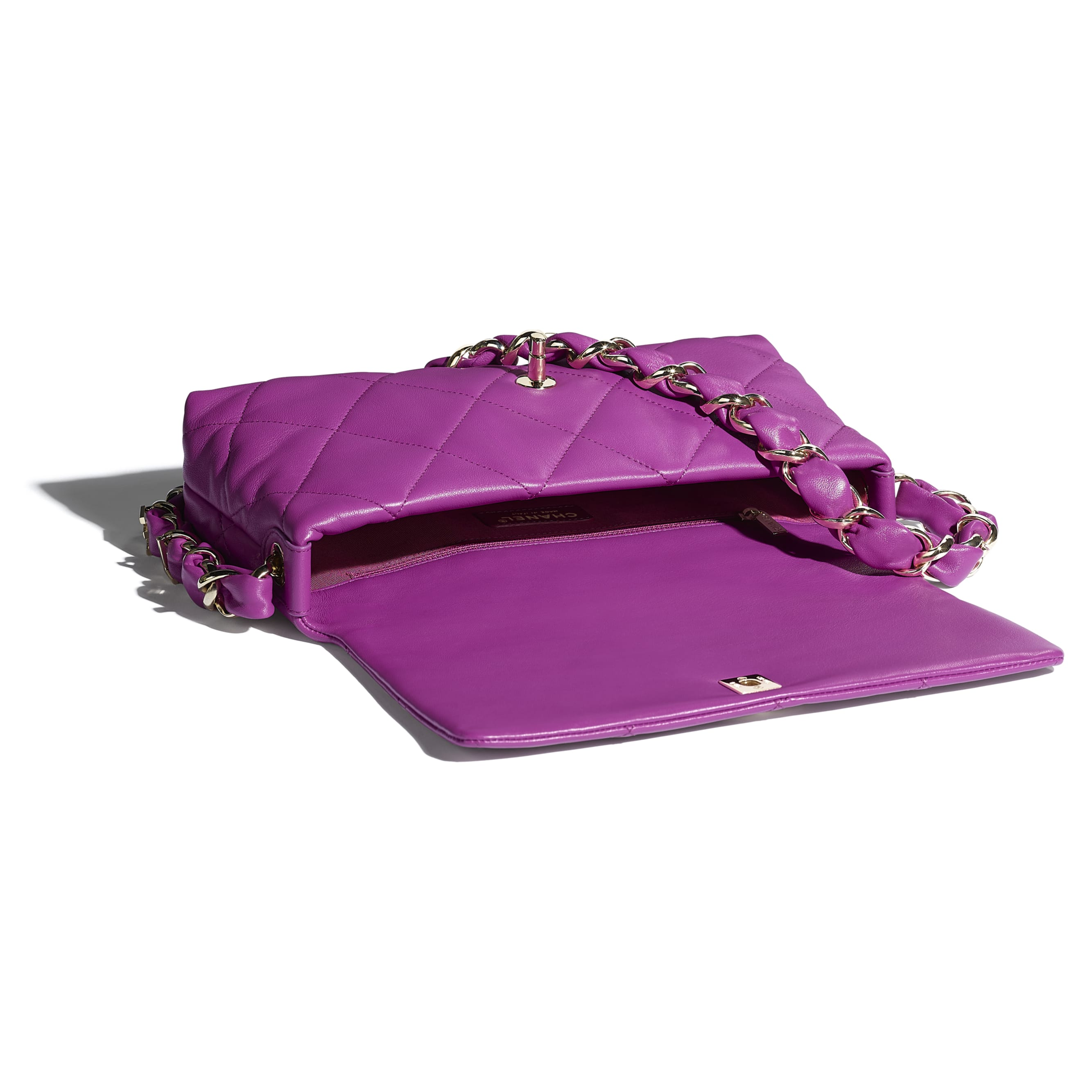 Flap Bag - Purple - Lambskin & Gold-Tone Metal - CHANEL - Other view - see standard sized version