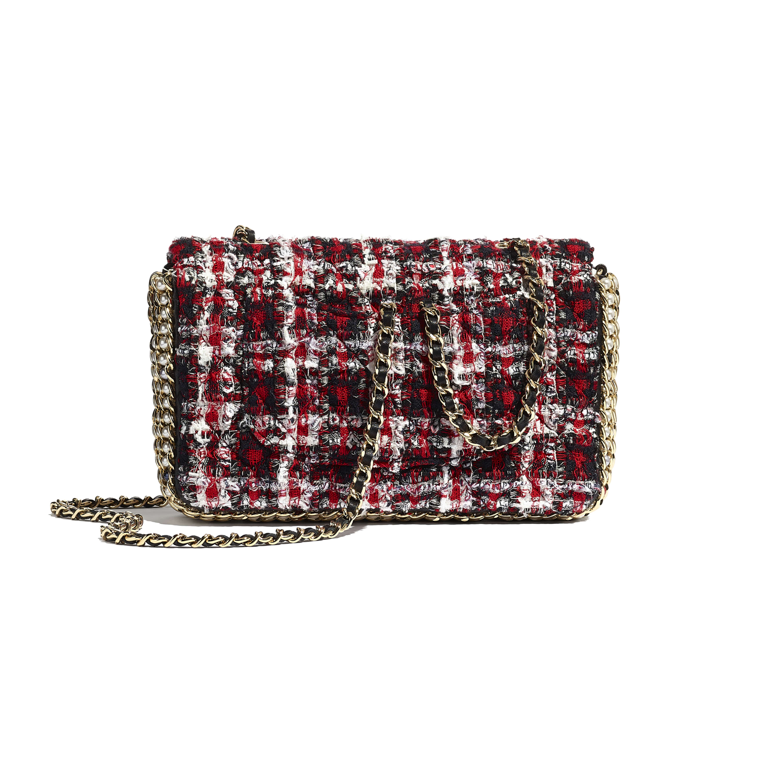 Flap Bag - Red, Black & White - Tweed, Imitation Pearls & Gold-Tone Metal - Alternative view - see standard sized version