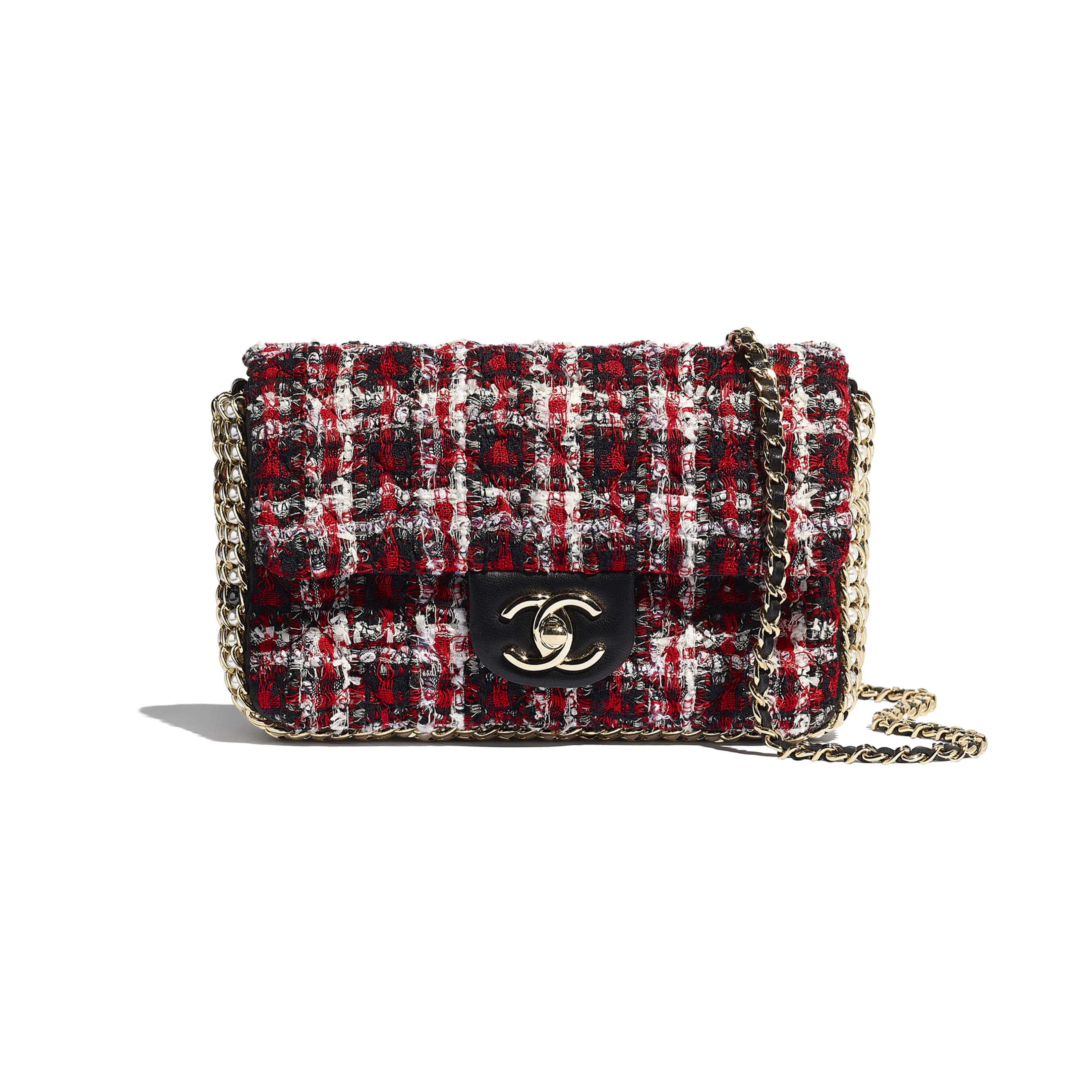 Flap Bag - Red, Black & White - Tweed, Imitation Pearls & Gold-Tone Metal - Default view - see standard sized version