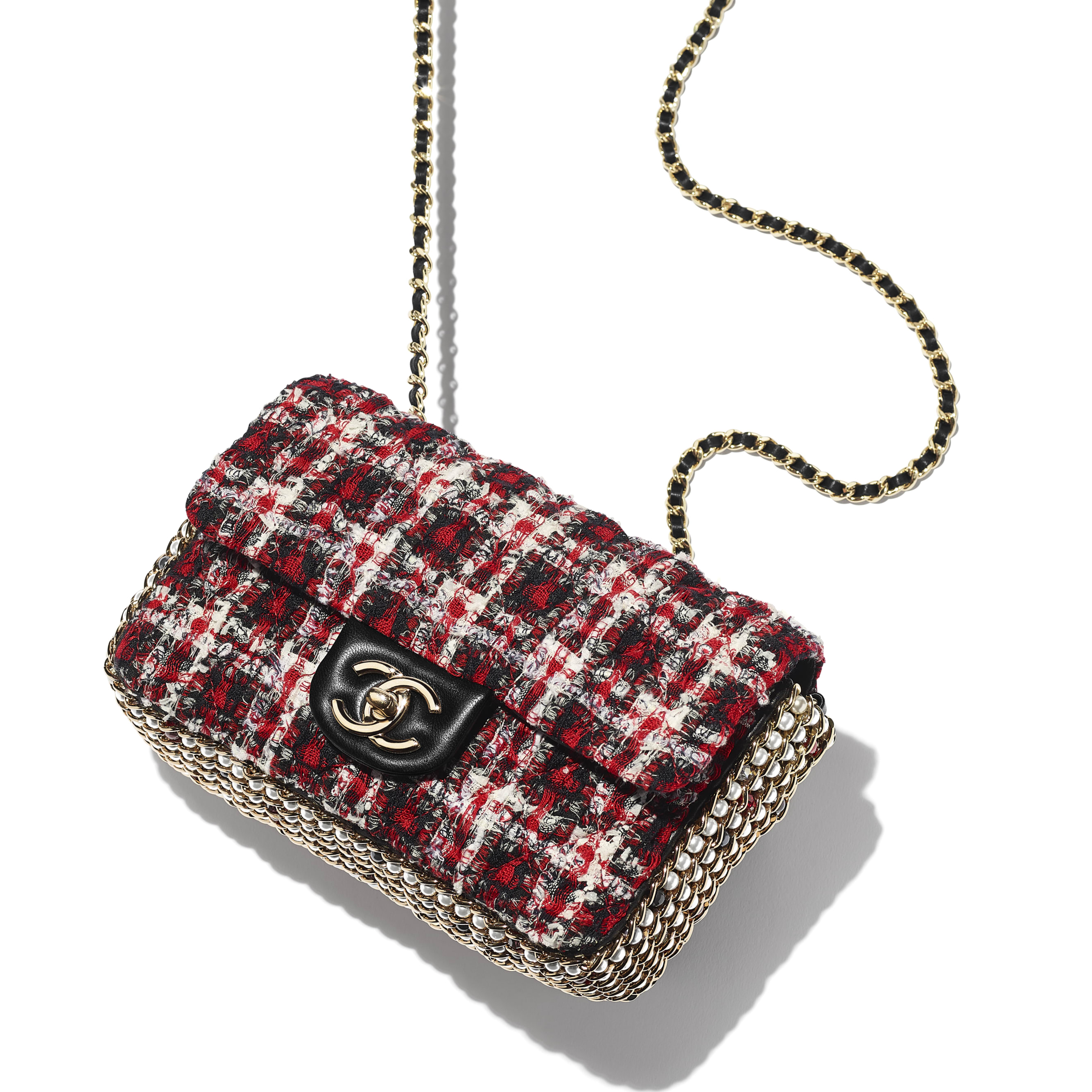 Flap Bag - Red, Black & White - Tweed, Imitation Pearls & Gold-Tone Metal - Extra view - see standard sized version