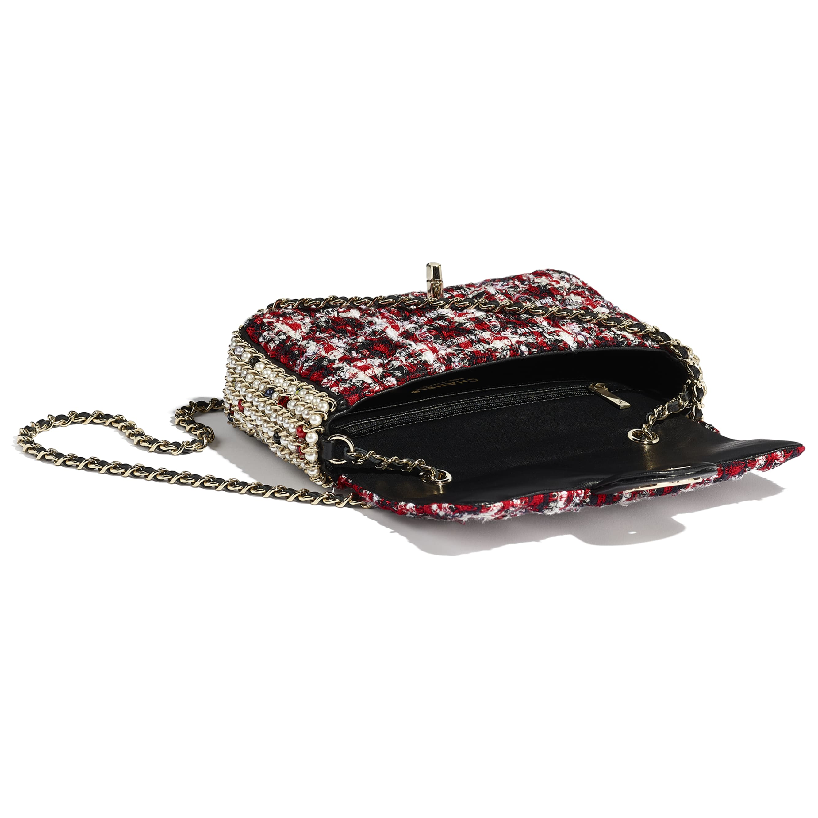 Flap Bag - Red, Black & White - Tweed, Imitation Pearls & Gold-Tone Metal - Other view - see standard sized version