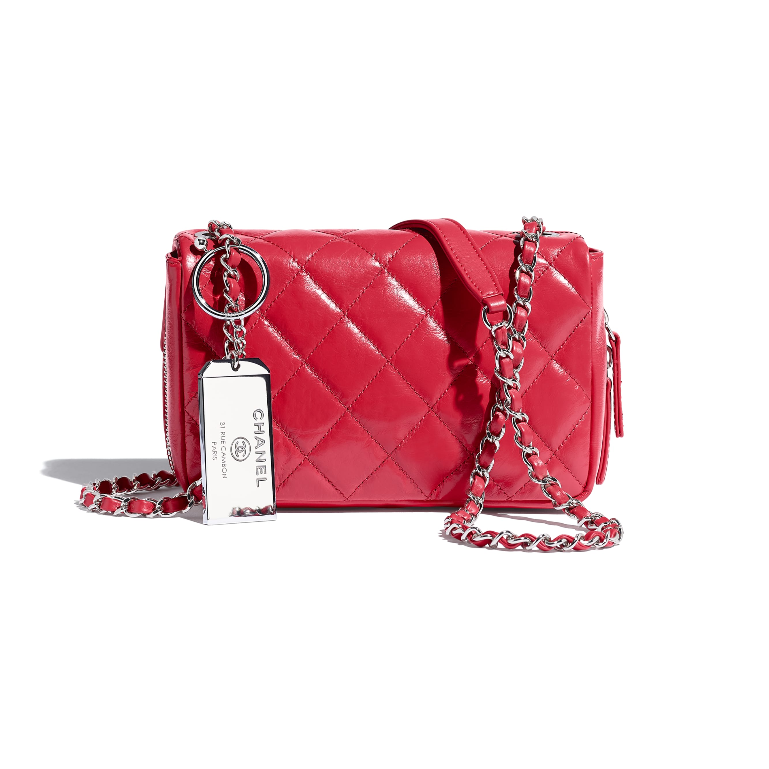 Flap Bag - Red - Calfskin & Silver-Tone Metal - CHANEL - Alternative view - see standard sized version