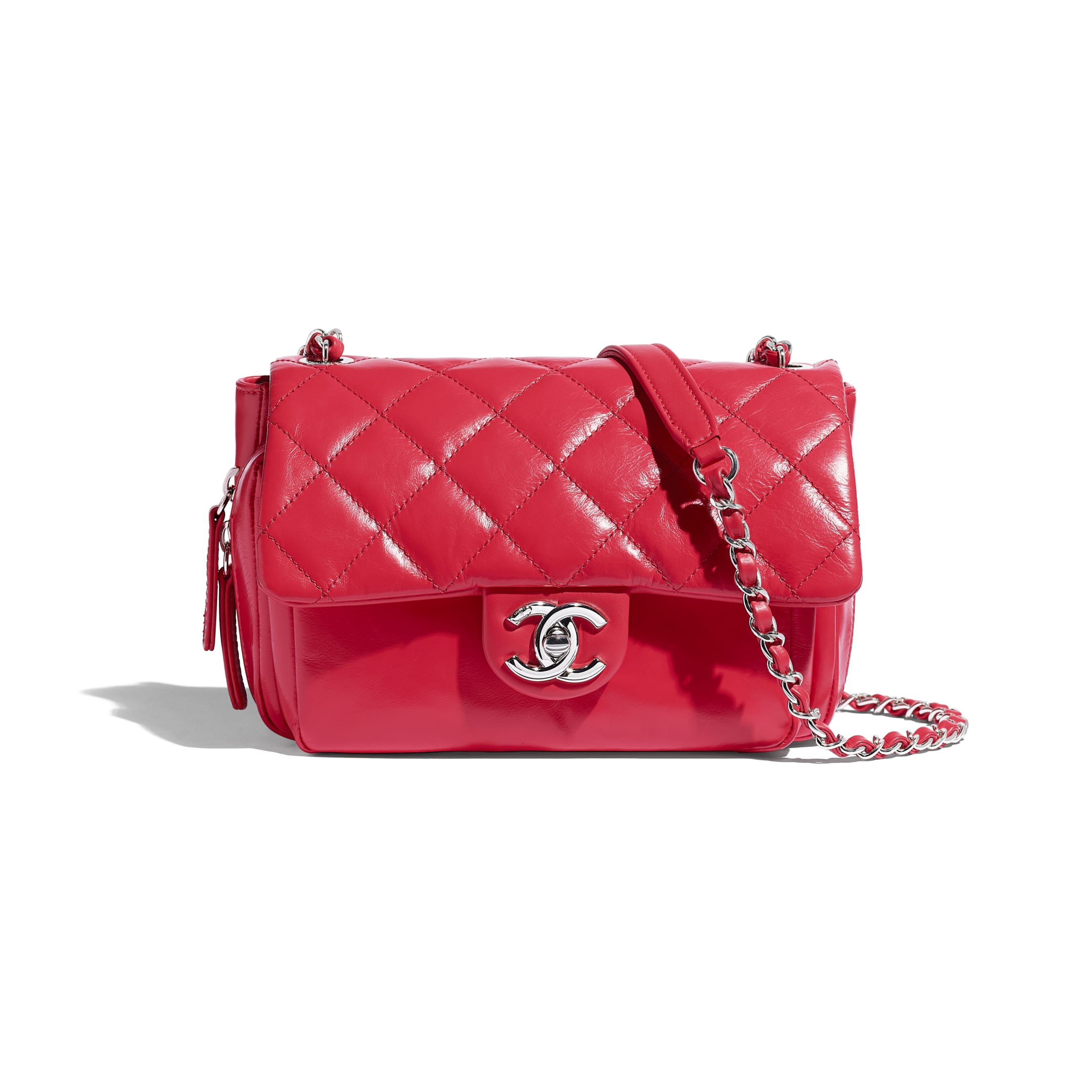 Flap Bag - Red - Calfskin & Silver-Tone Metal - CHANEL - Default view - see standard sized version