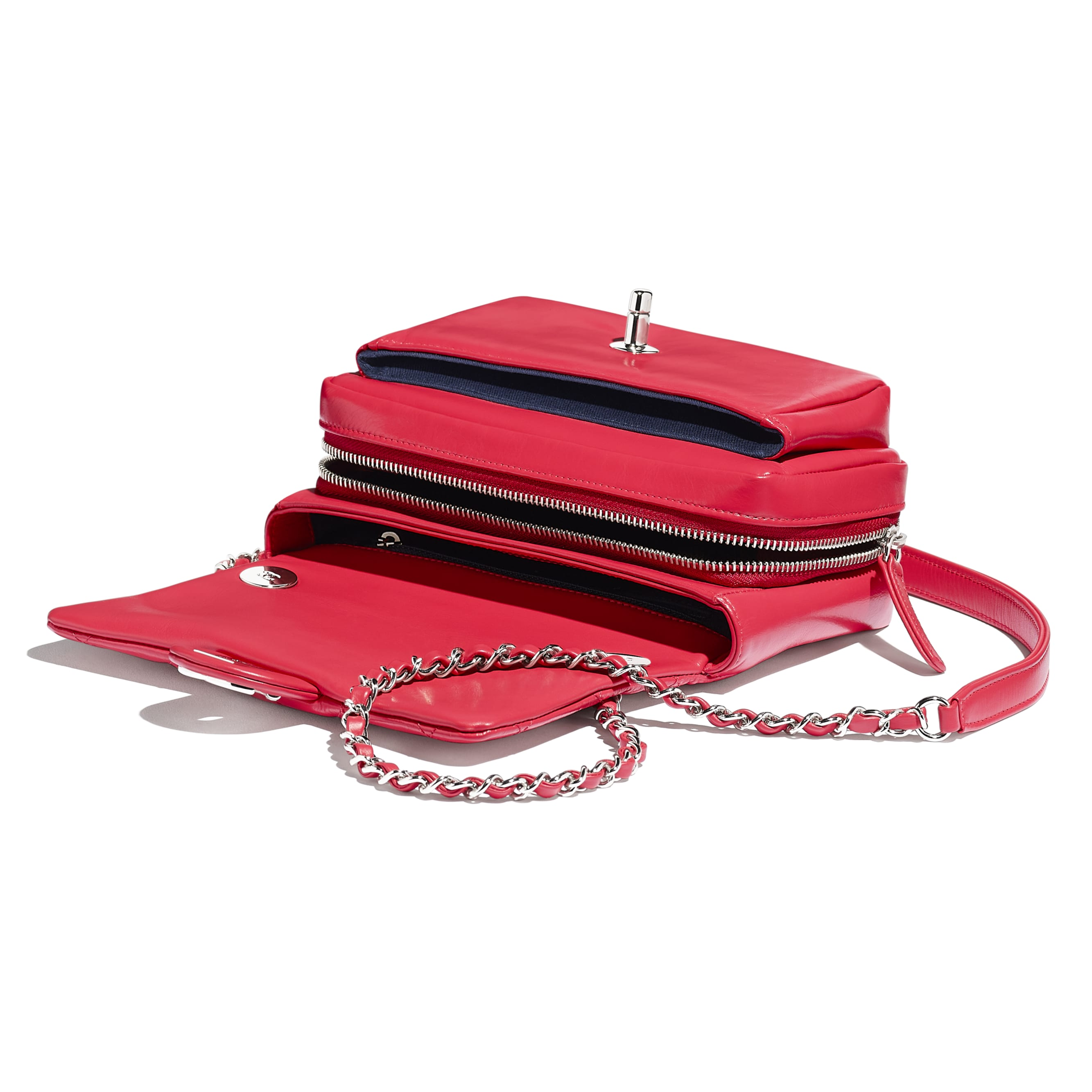 Flap Bag - Red - Calfskin & Silver-Tone Metal - CHANEL - Other view - see standard sized version