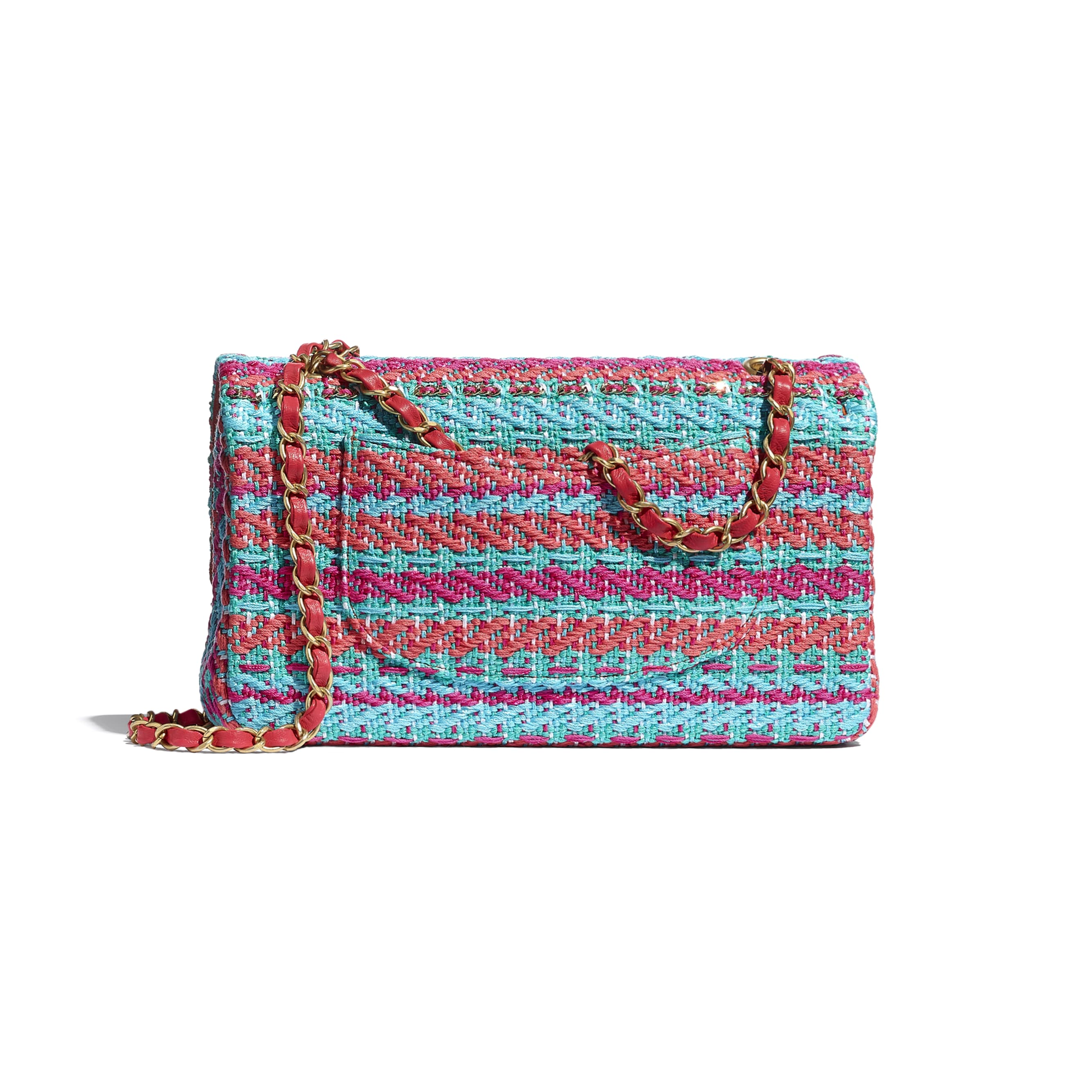 Flap Bag - Red, Fuchsia & Blue - Cotton, Mixed Fibers & Gold-Tone Metal - CHANEL - Alternative view - see standard sized version