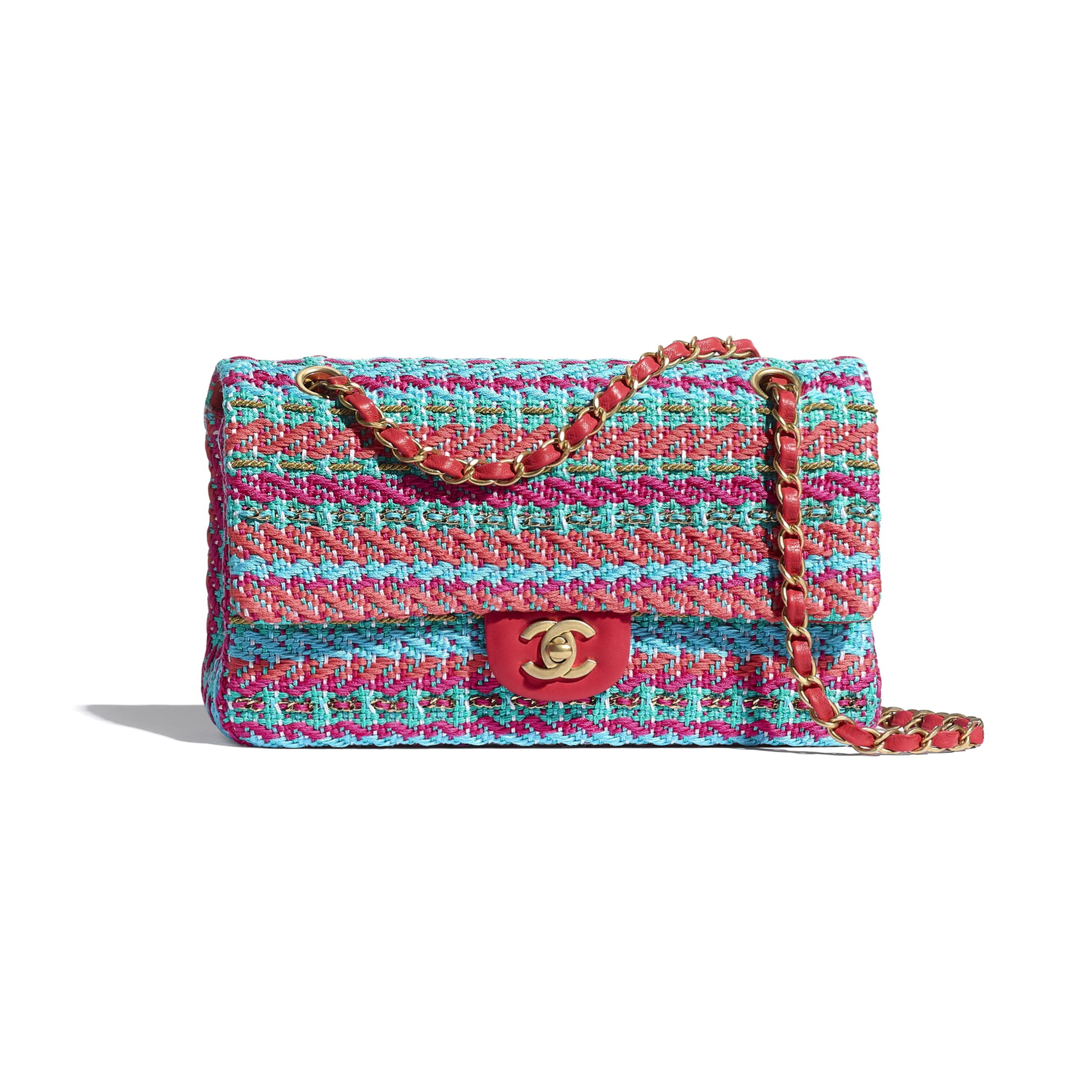 Flap Bag - Red, Fuchsia & Blue - Cotton, Mixed Fibers & Gold-Tone Metal - CHANEL - Default view - see standard sized version