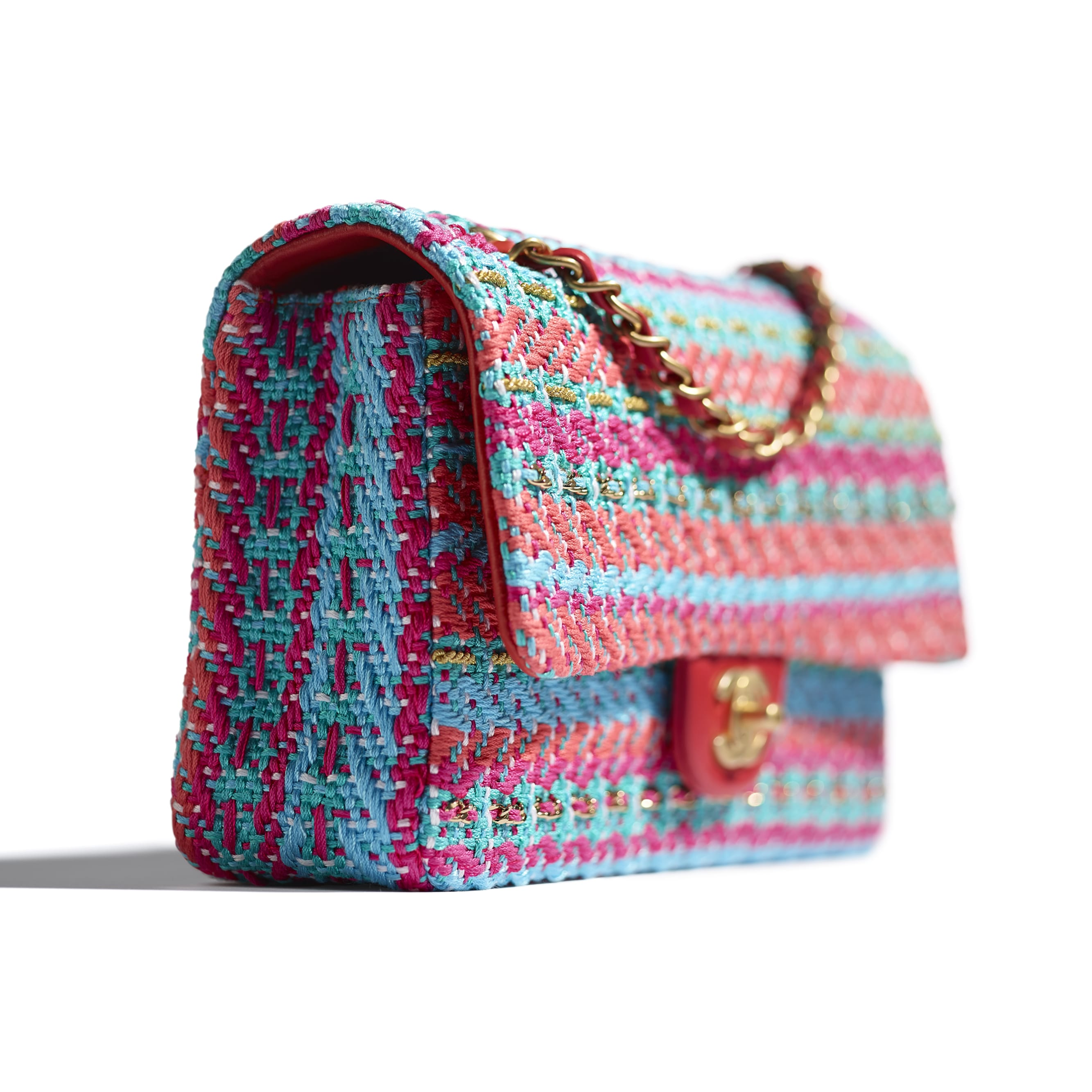 Flap Bag - Red, Fuchsia & Blue - Cotton, Mixed Fibers & Gold-Tone Metal - CHANEL - Extra view - see standard sized version