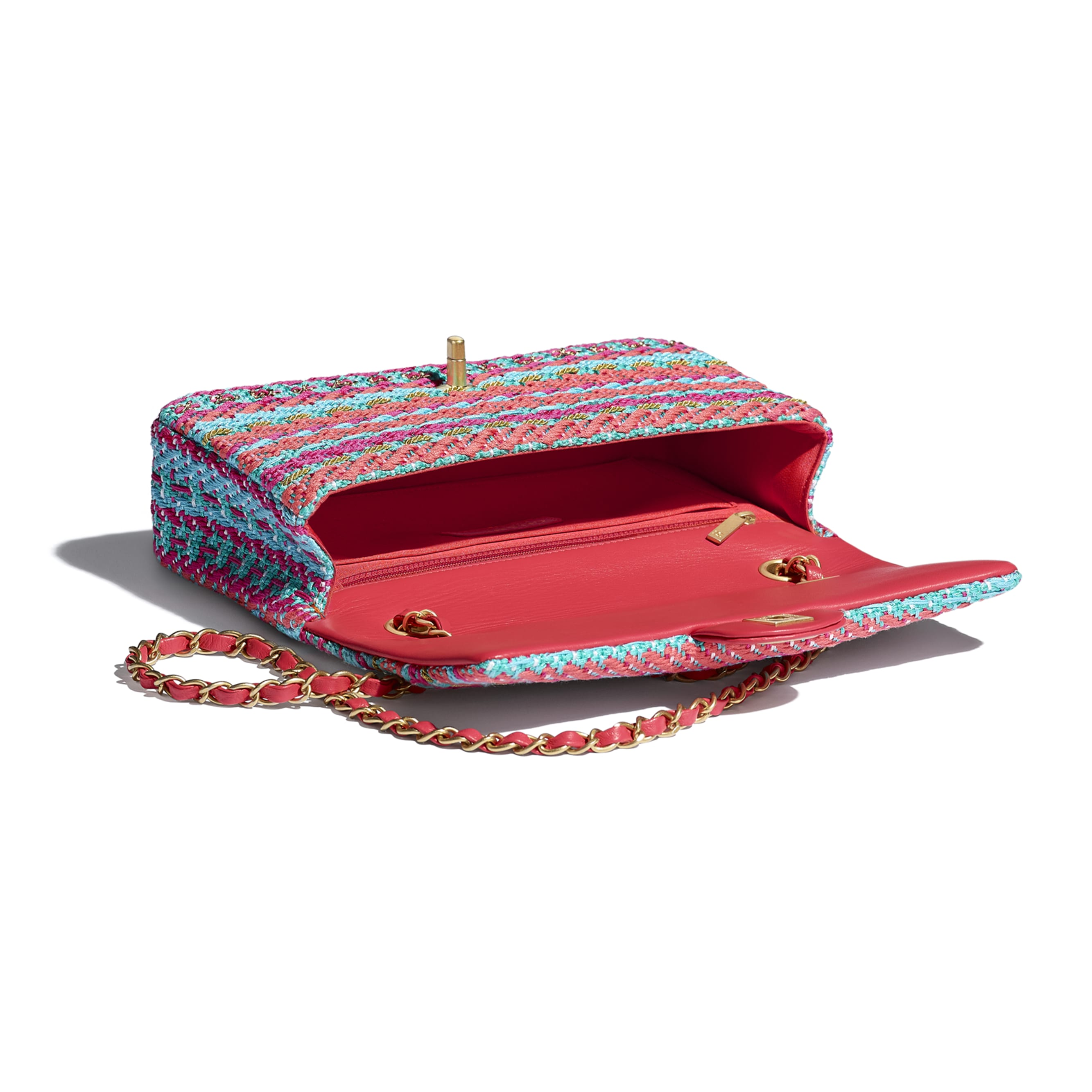 Flap Bag - Red, Fuchsia & Blue - Cotton, Mixed Fibers & Gold-Tone Metal - CHANEL - Other view - see standard sized version