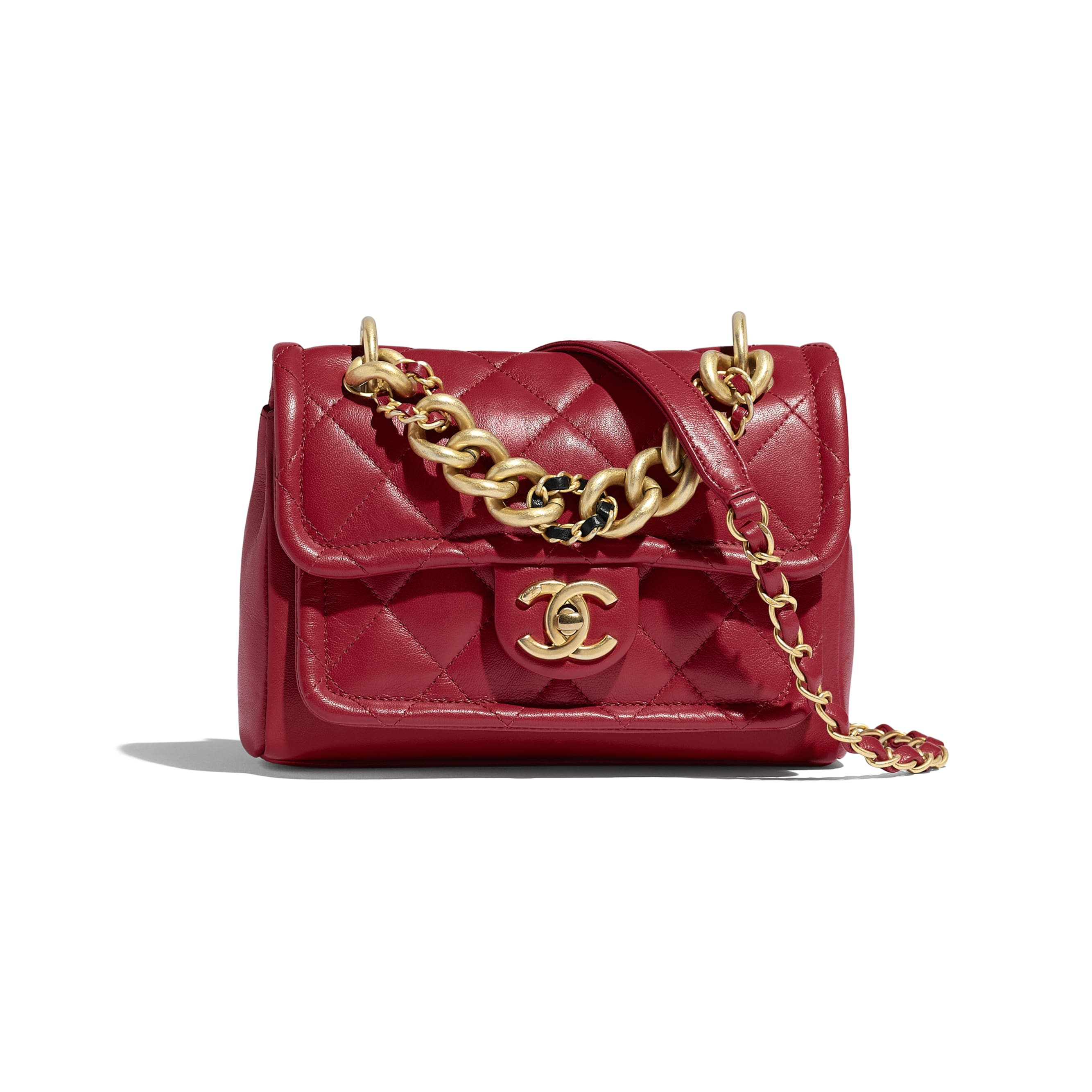 Flap Bag - Red - Lambskin - Default view - see standard sized version