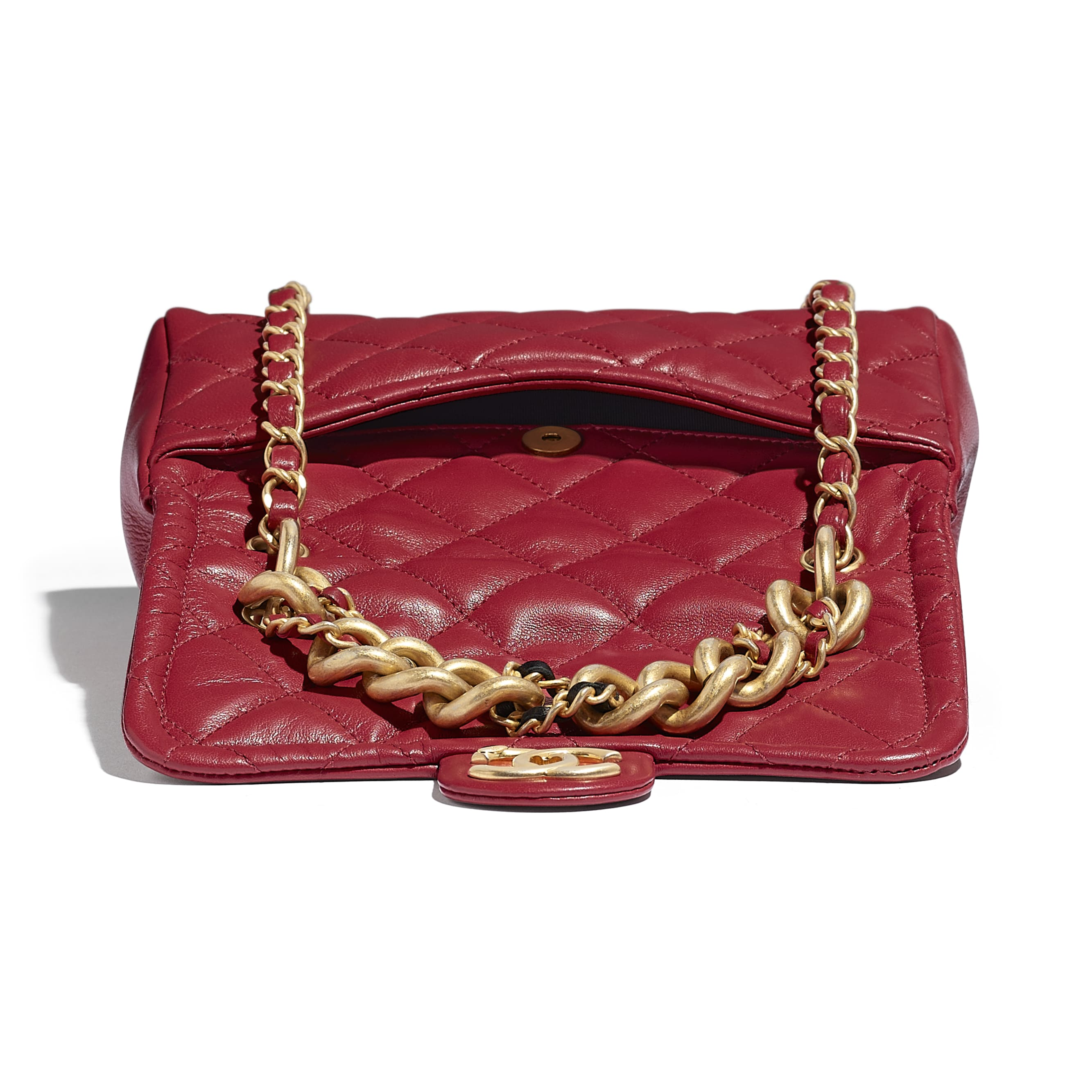 Flap Bag - Red - Lambskin - Extra view - see standard sized version