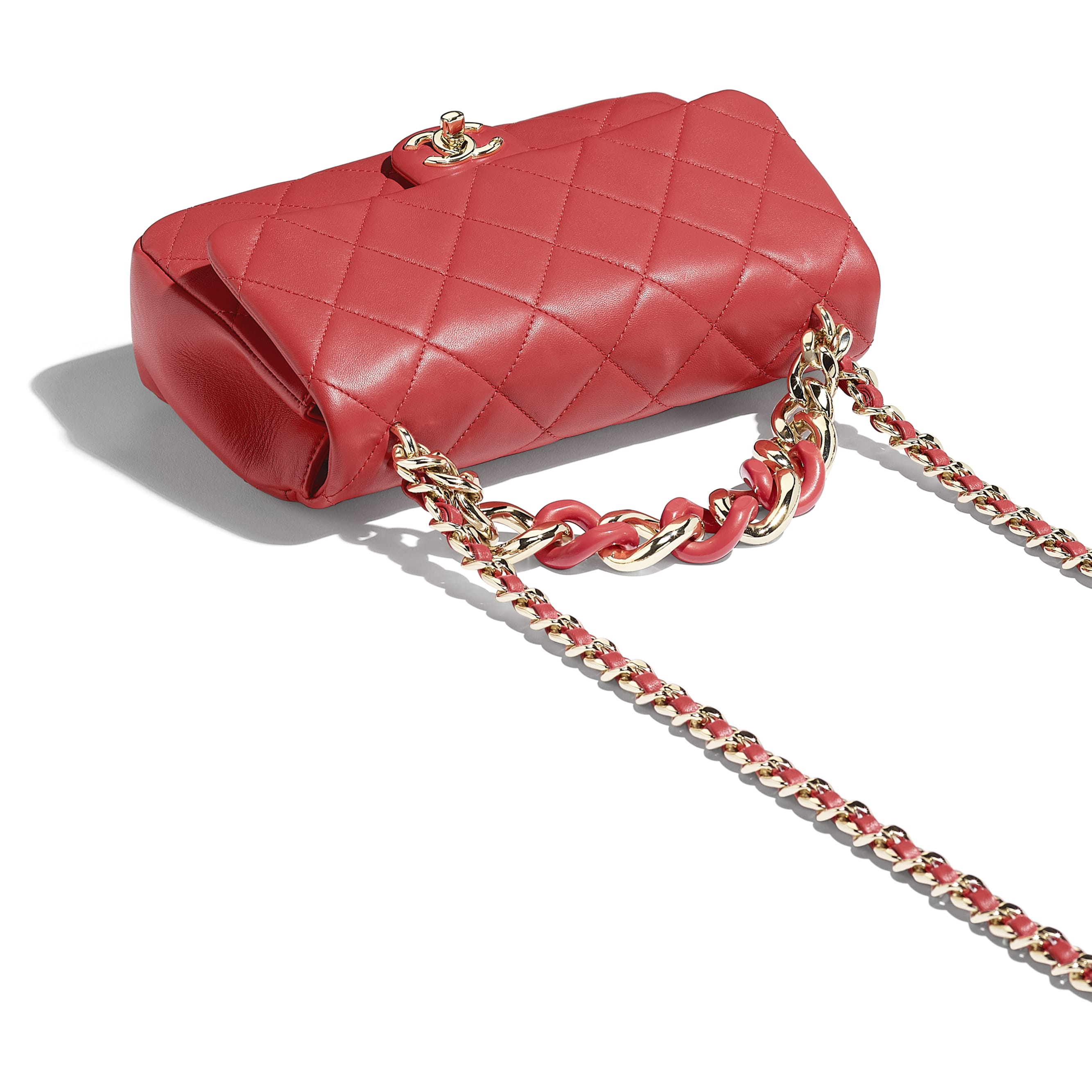 Flap Bag - Red - Lambskin, Resin & Gold-Tone Metal - Extra view - see standard sized version