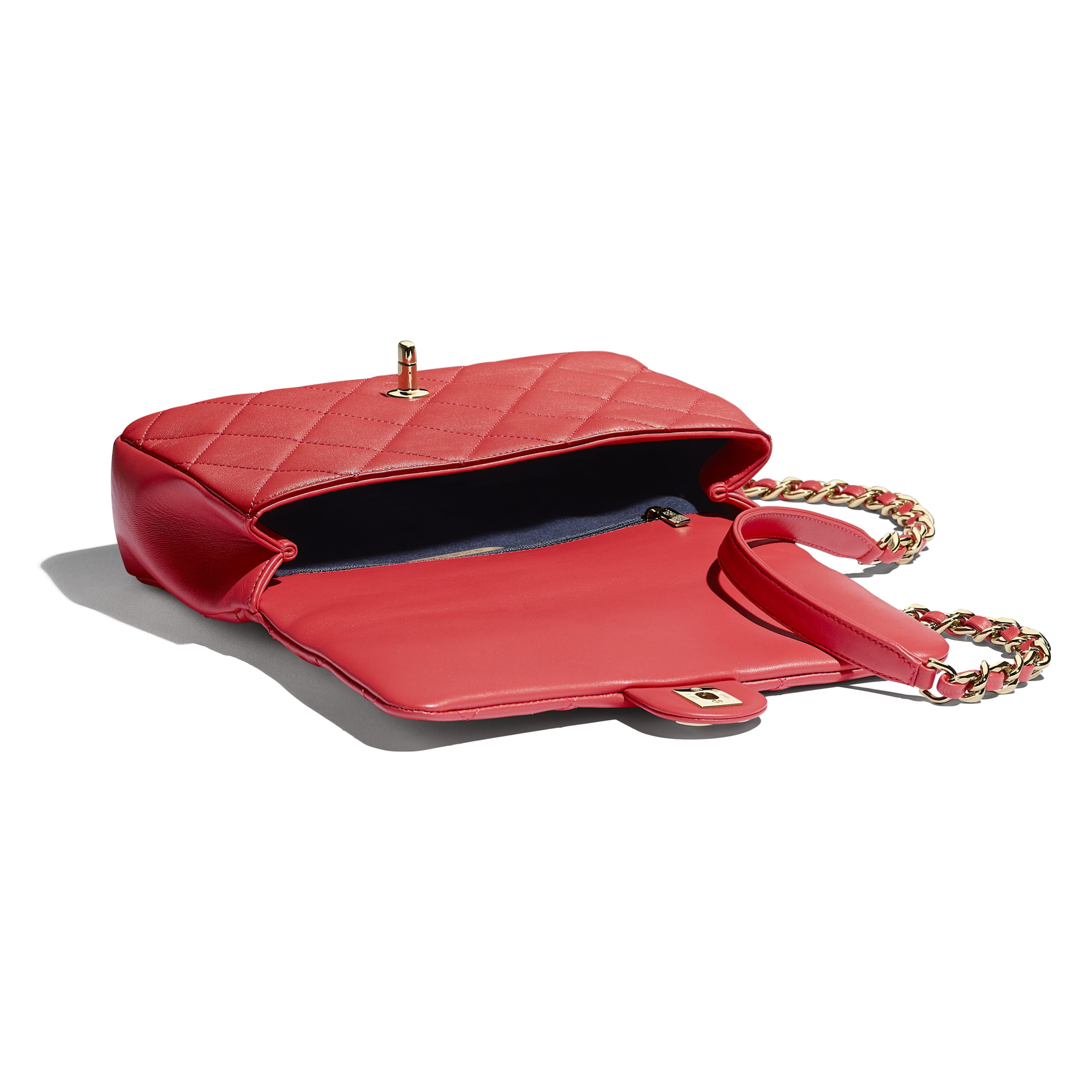 Flap Bag - Red - Lambskin, Resin & Gold-Tone Metal - Other view - see standard sized version
