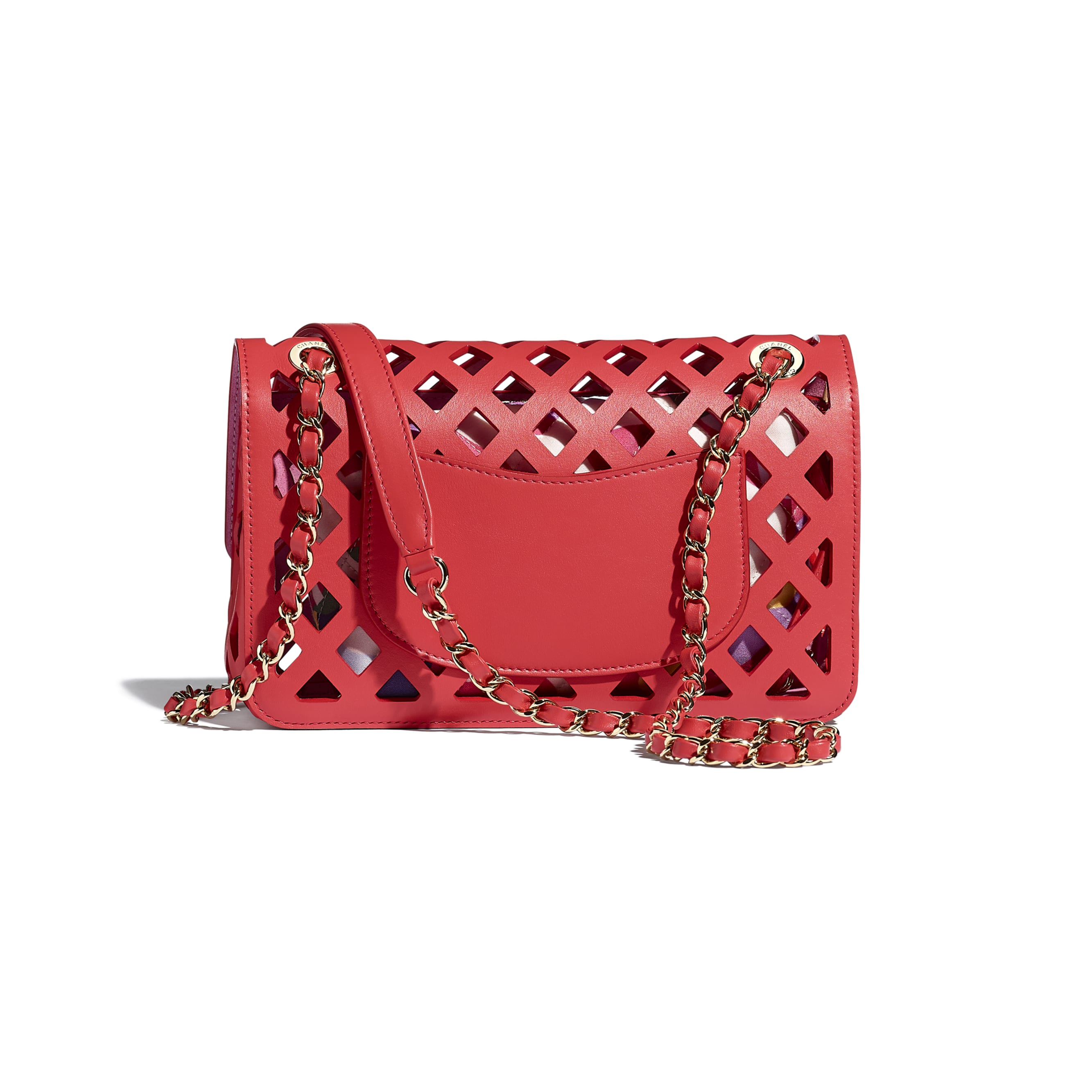 Flap Bag - Red - Perforated Calfskin, Printed Fabric & Gold-Tone Metal - CHANEL - Alternative view - see standard sized version