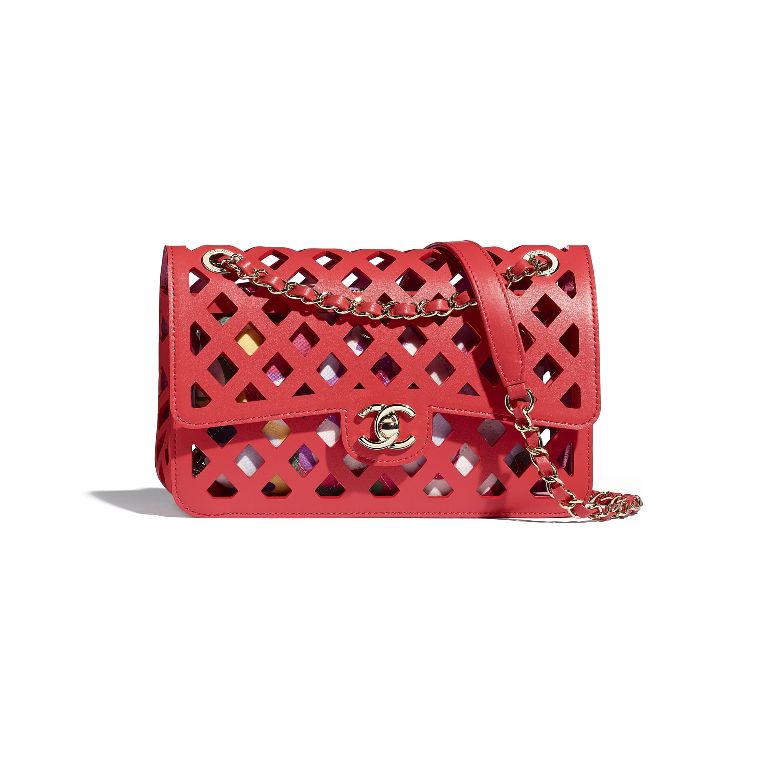 Flap Bag - Red - Perforated Calfskin, Printed Fabric & Gold-Tone Metal - CHANEL - Default view - see standard sized version