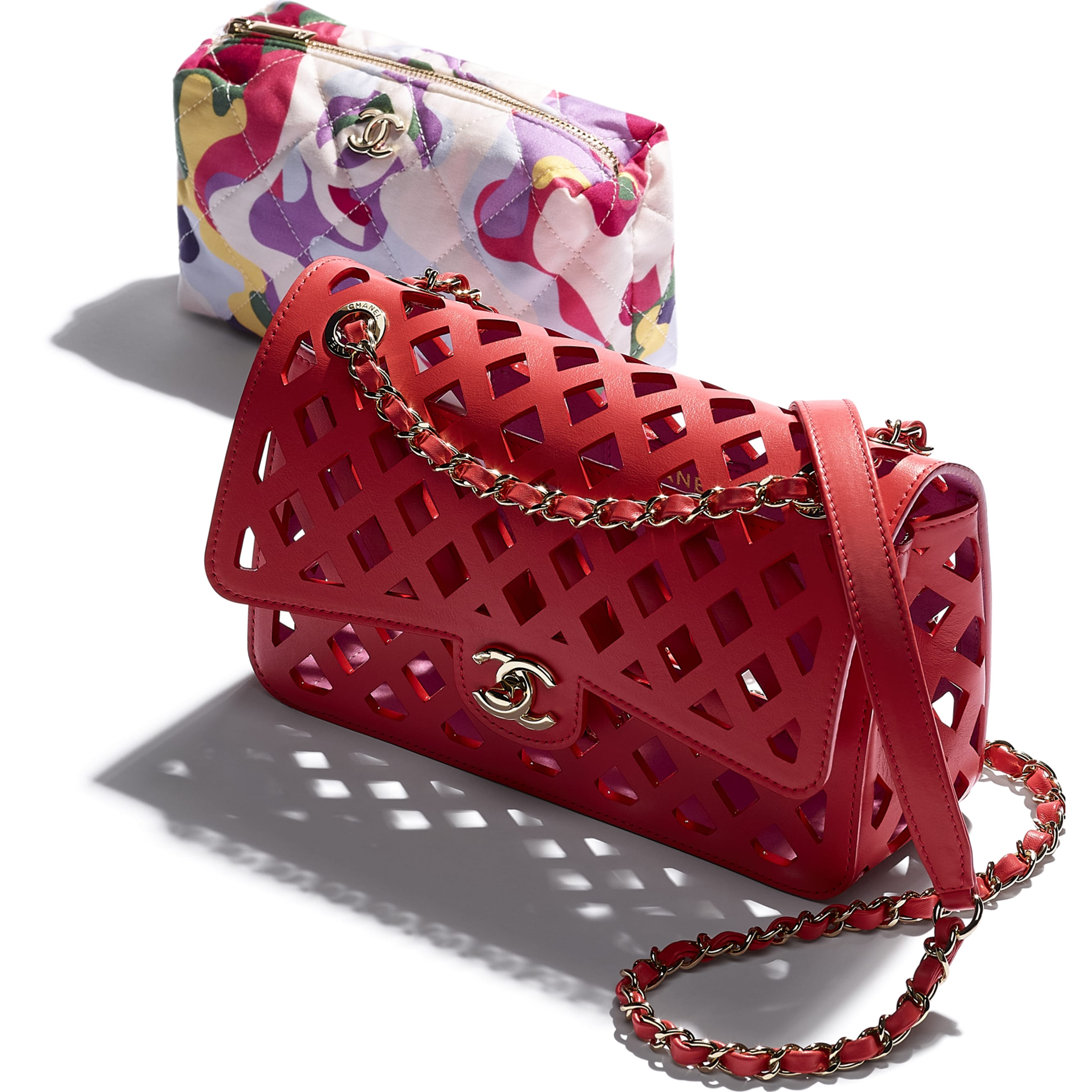 Flap Bag - Red - Perforated Calfskin, Printed Fabric & Gold-Tone Metal - CHANEL - Extra view - see standard sized version