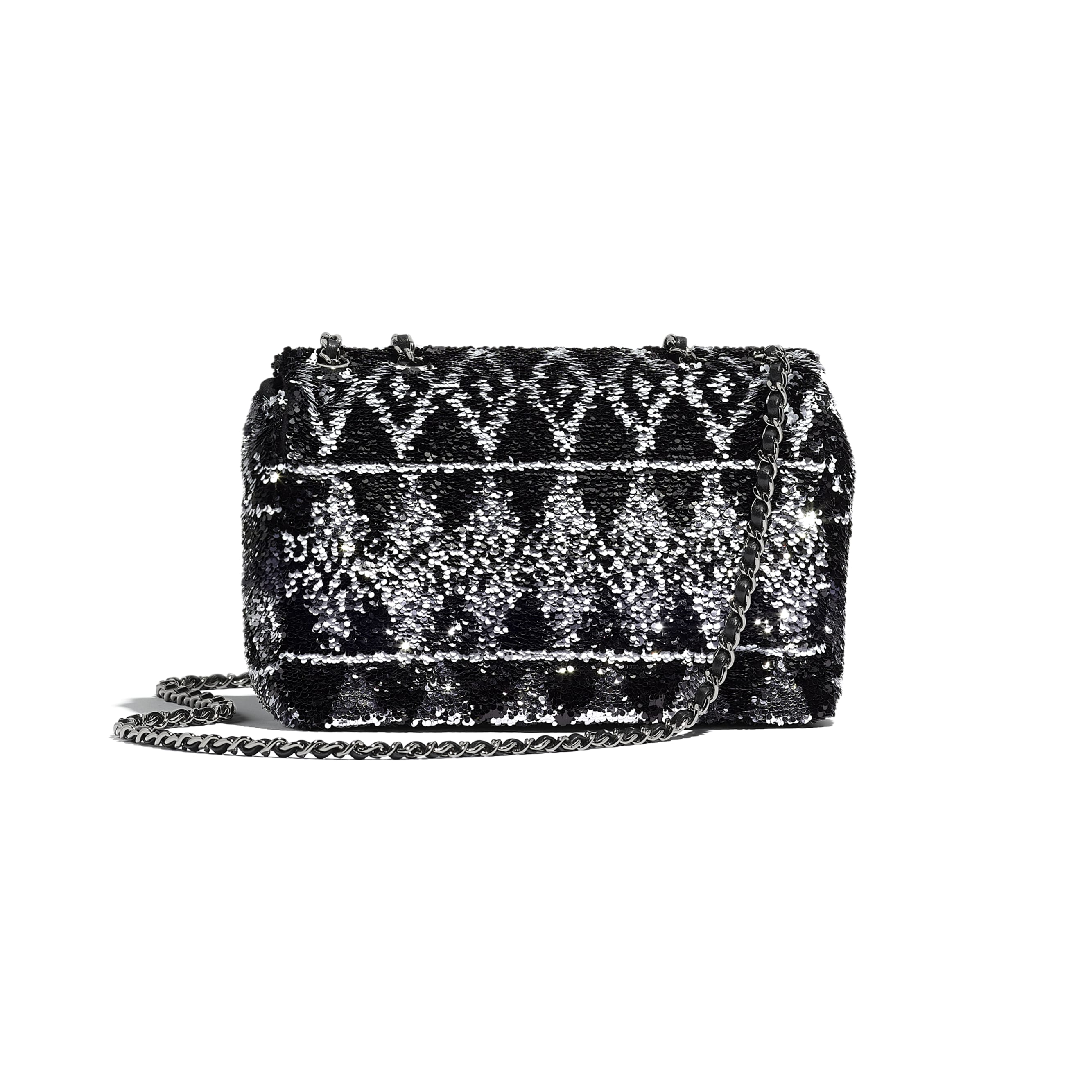 Flap Bag - Silver & Black - Sequins & Ruthenium-Finish Metal - Alternative view - see standard sized version