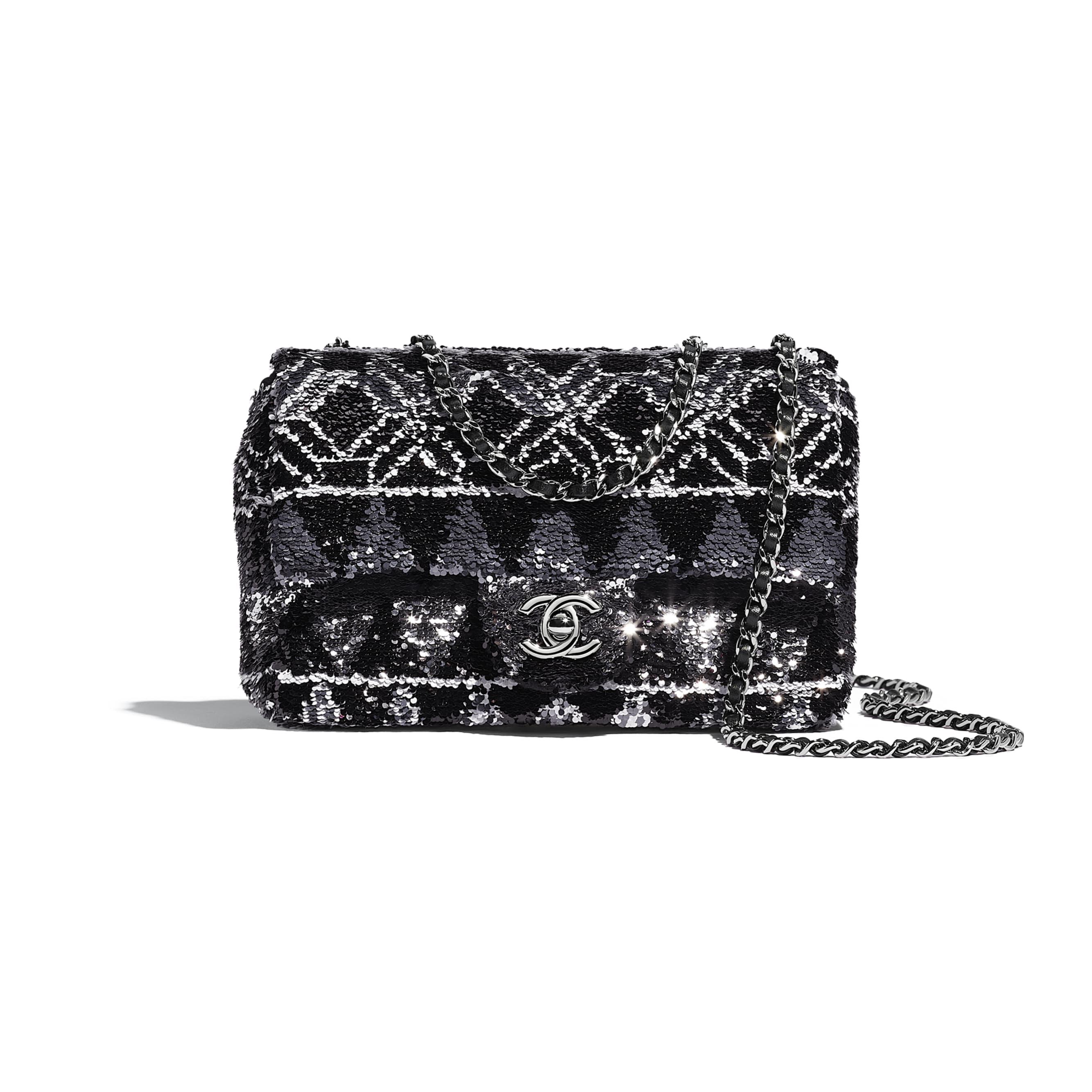 Flap Bag - Silver & Black - Sequins & Ruthenium-Finish Metal - Default view - see standard sized version