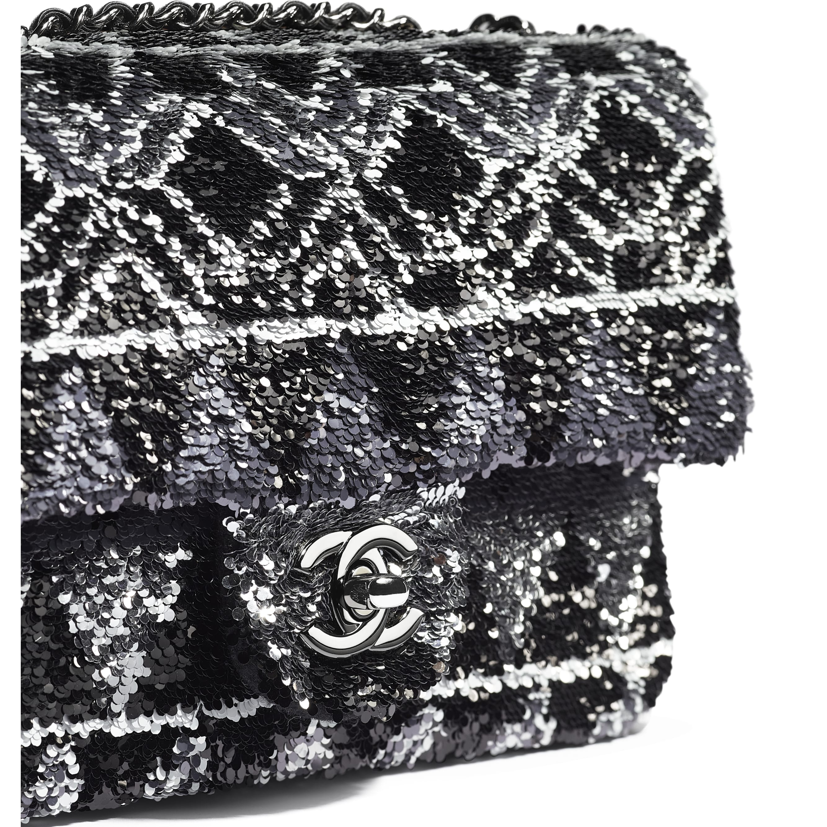 Flap Bag - Silver & Black - Sequins & Ruthenium-Finish Metal - Extra view - see standard sized version