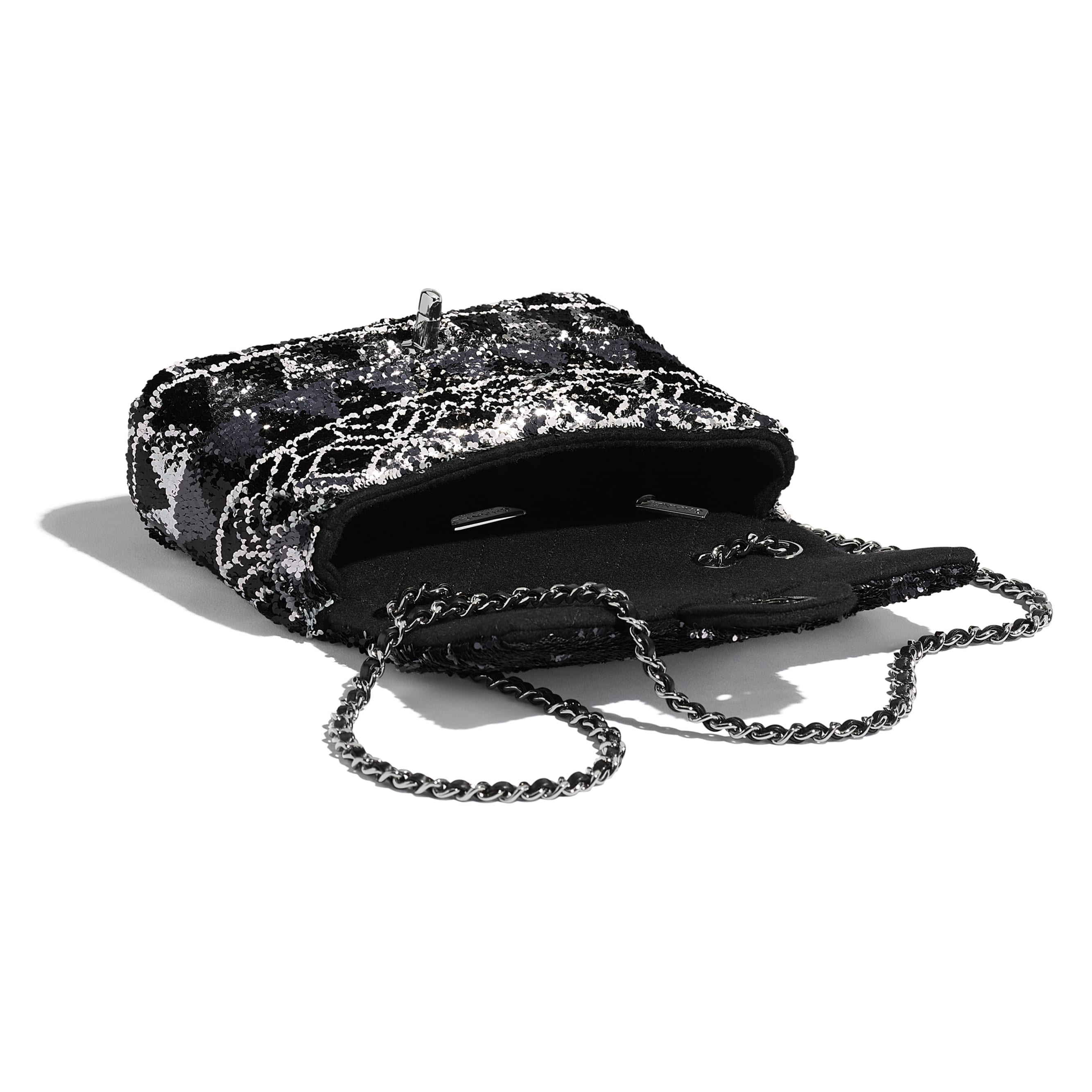 Flap Bag - Silver & Black - Sequins & Ruthenium-Finish Metal - Other view - see standard sized version