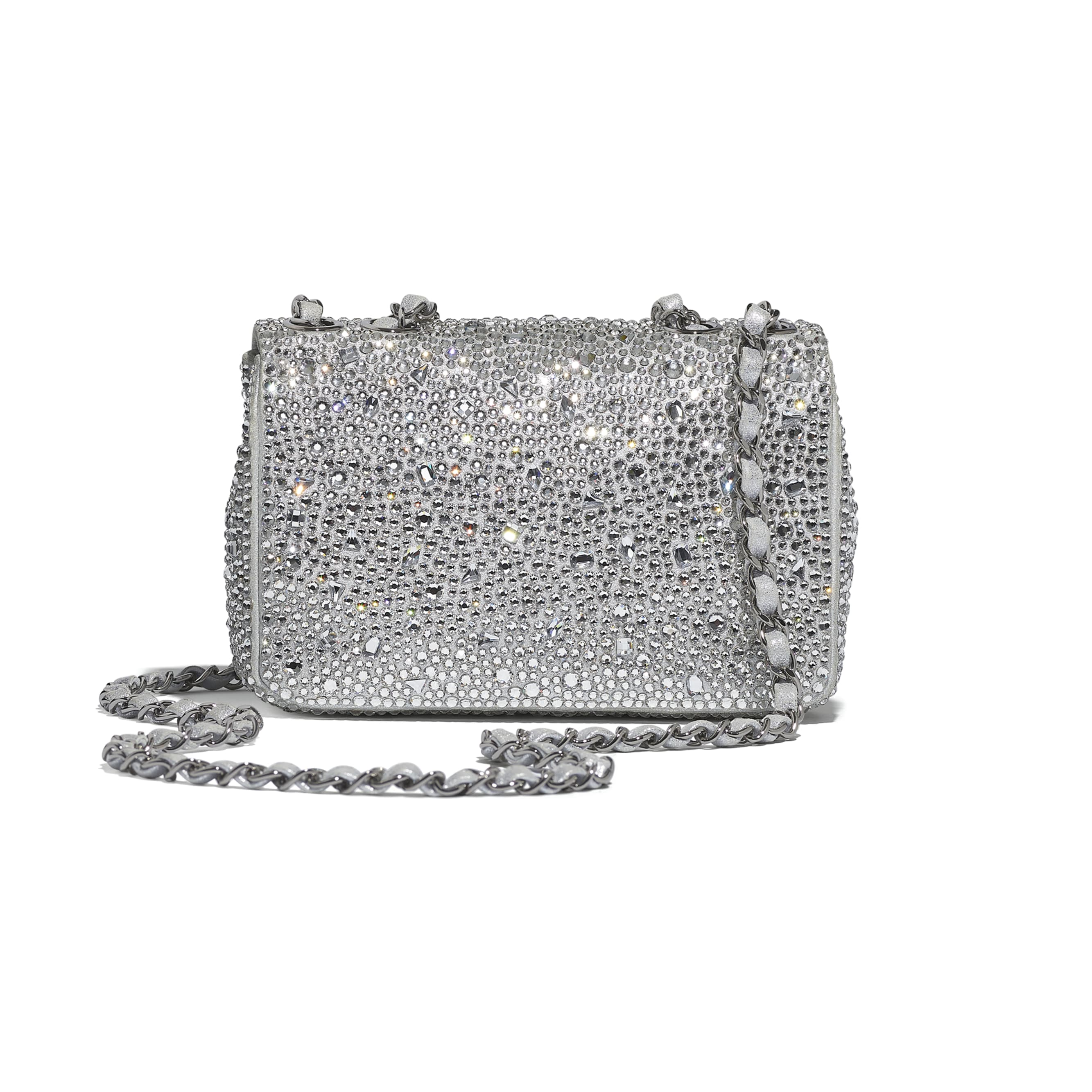 Flap Bag - Silver - Strass, Lambskin & Ruthenium-Finish Metal - CHANEL - Alternative view - see standard sized version