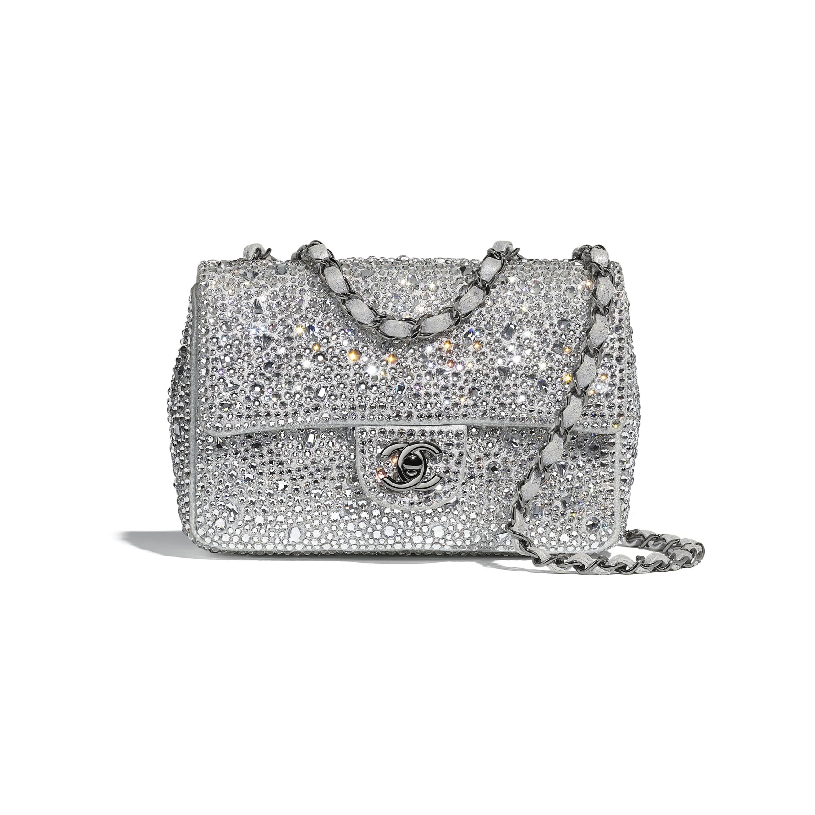 Flap Bag - Silver - Strass, Lambskin & Ruthenium-Finish Metal - CHANEL - Default view - see standard sized version