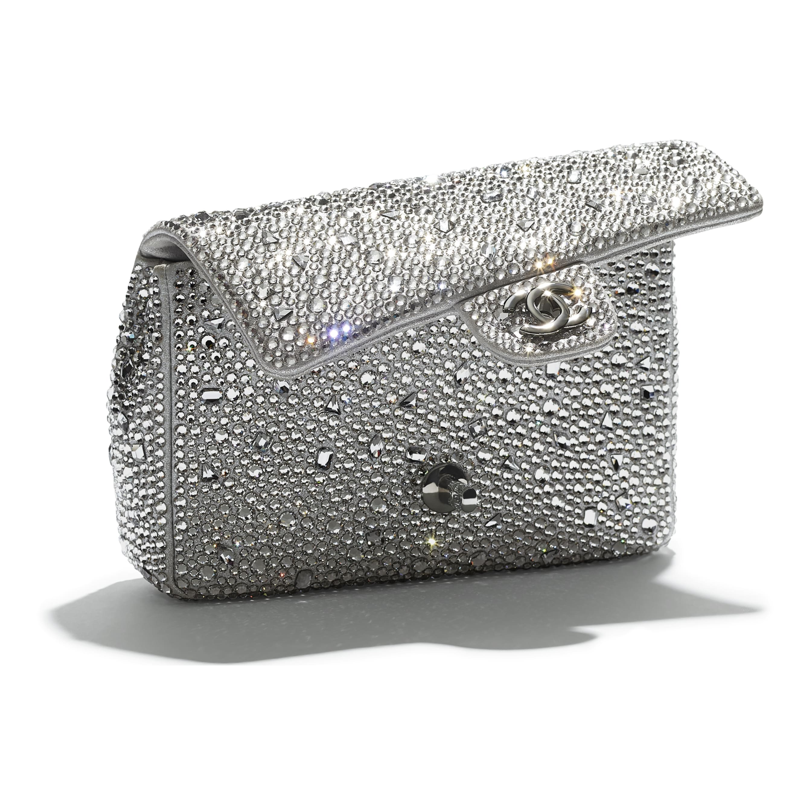Flap Bag - Silver - Strass, Lambskin & Ruthenium-Finish Metal - CHANEL - Extra view - see standard sized version